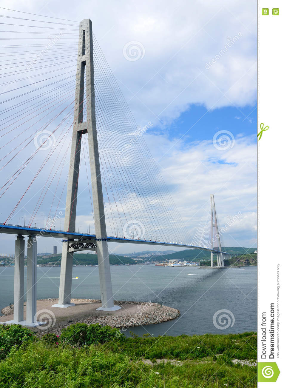 Vladivostok Russia  City pictures : Vladivostok, Russia, cable stayed bridge to Russian island Editorial ...