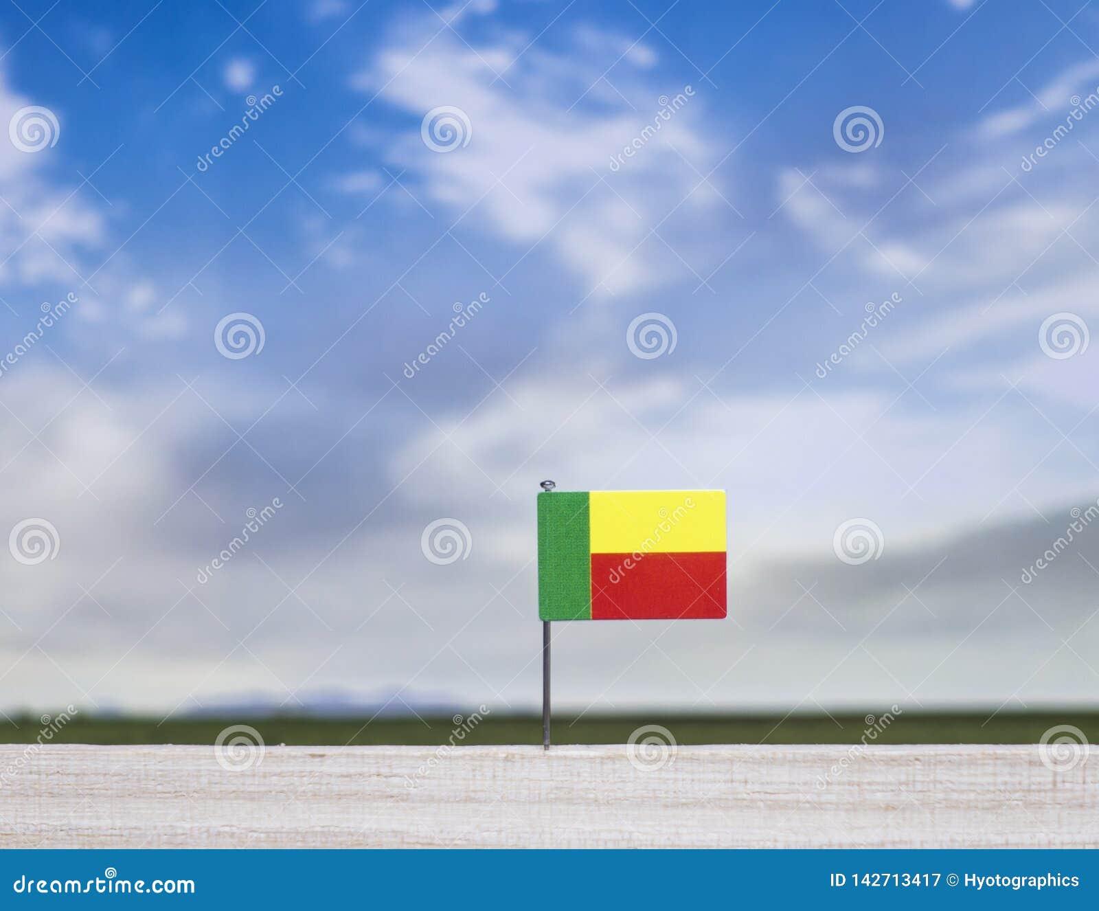 Vlag van Benin met enorme weide en blauwe hemel achter het