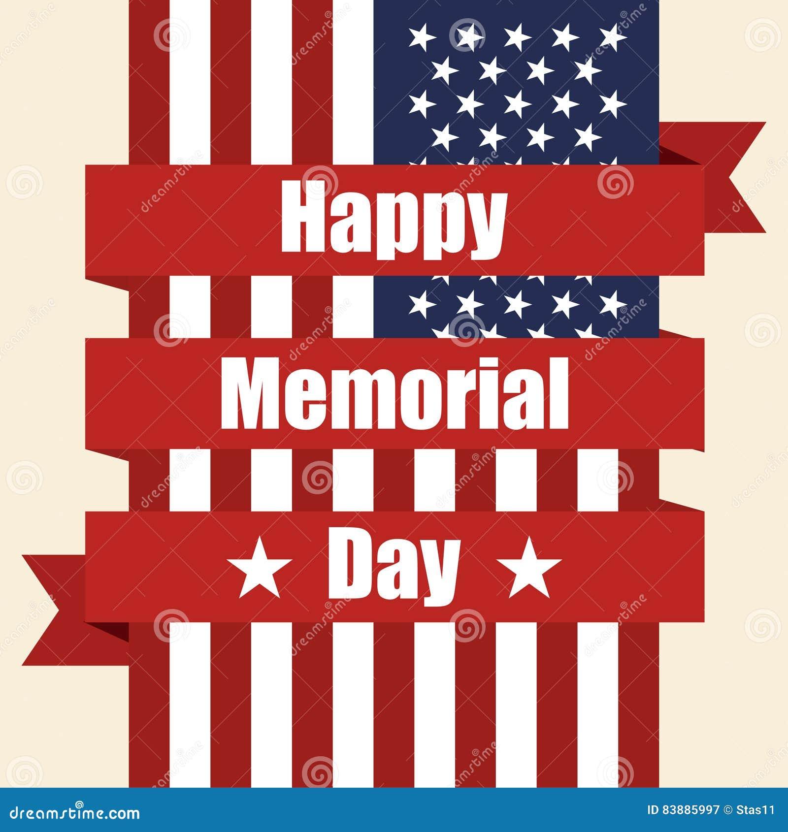 Vlag van de V.S. aan herdenkingsdag met lint Vector illustratie