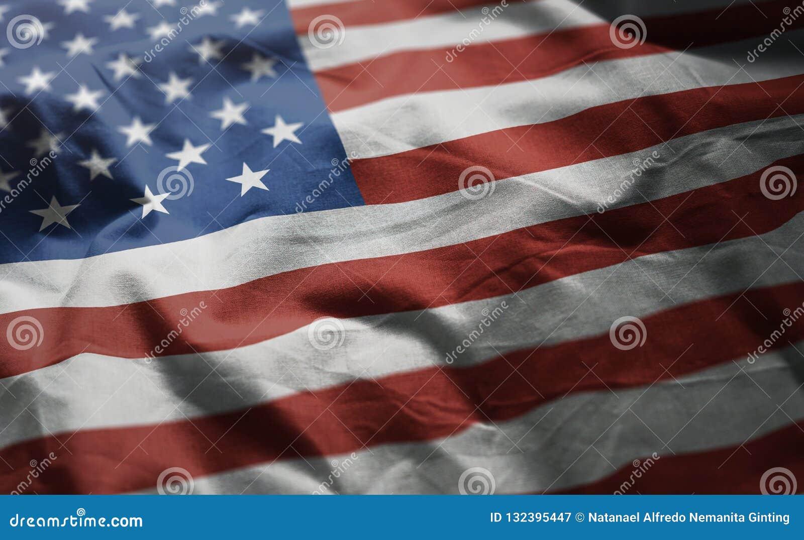 Vlag van de Verenigde Staten van Amerika verfomfaaide dicht omhoog