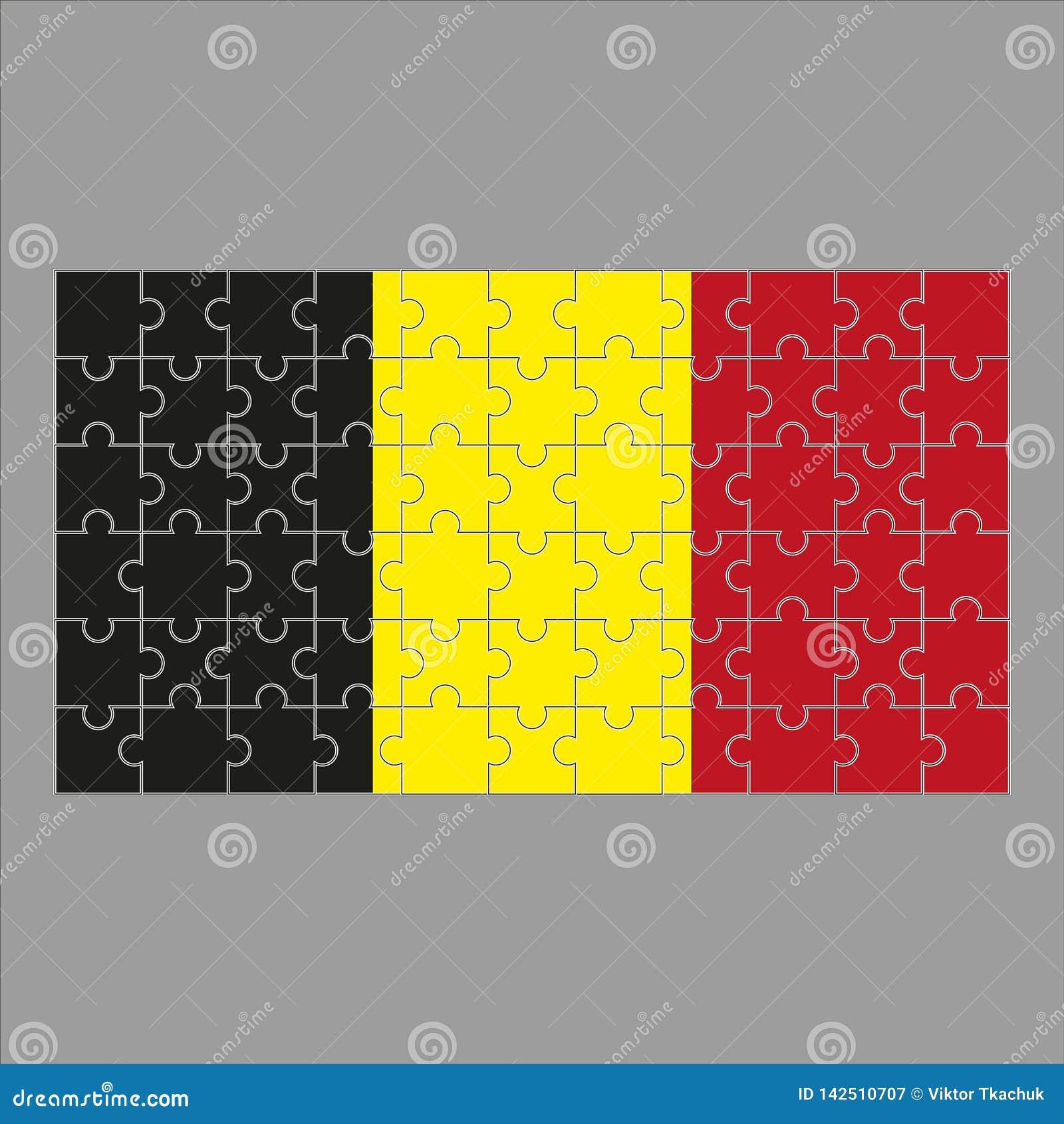 Vlag van het raadsel van Belgi? op grijze achtergrond