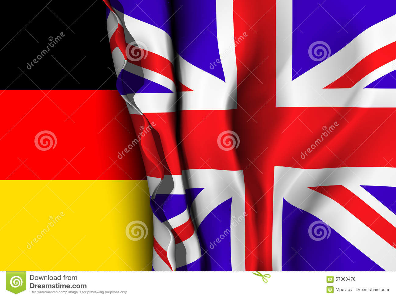 Vlag van het Verenigd Koninkrijk over de Duitse vlag