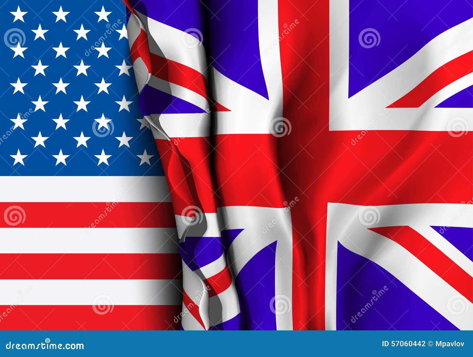 Vlag van het Verenigd Koninkrijk over de vlag van de V.S.