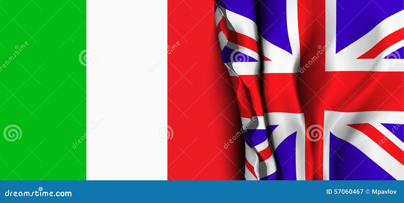 Vlag van het Verenigd Koninkrijk over de vlag van Italië