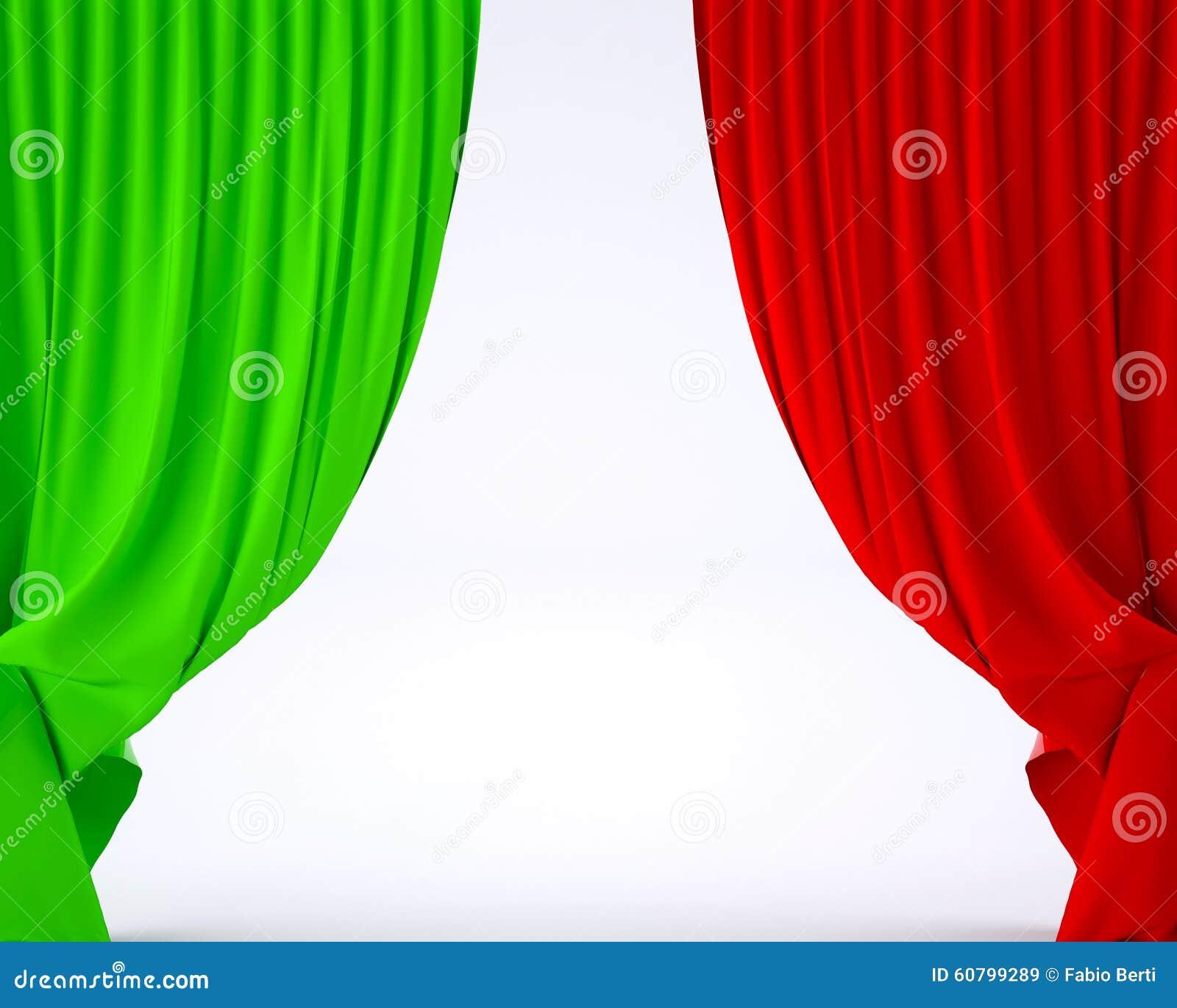 vlag van itali op een gordijn van de theaterzijde