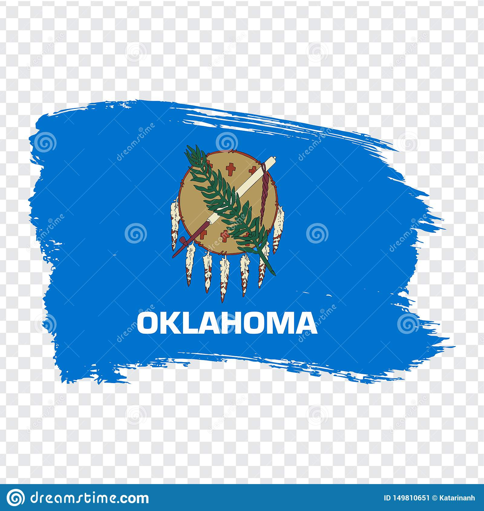 Vlag van Oklahoma van kwaststreken De Verenigde Staten van Amerika Vlag Oklahoma op transparante achtergrond voor uw websiteontwe