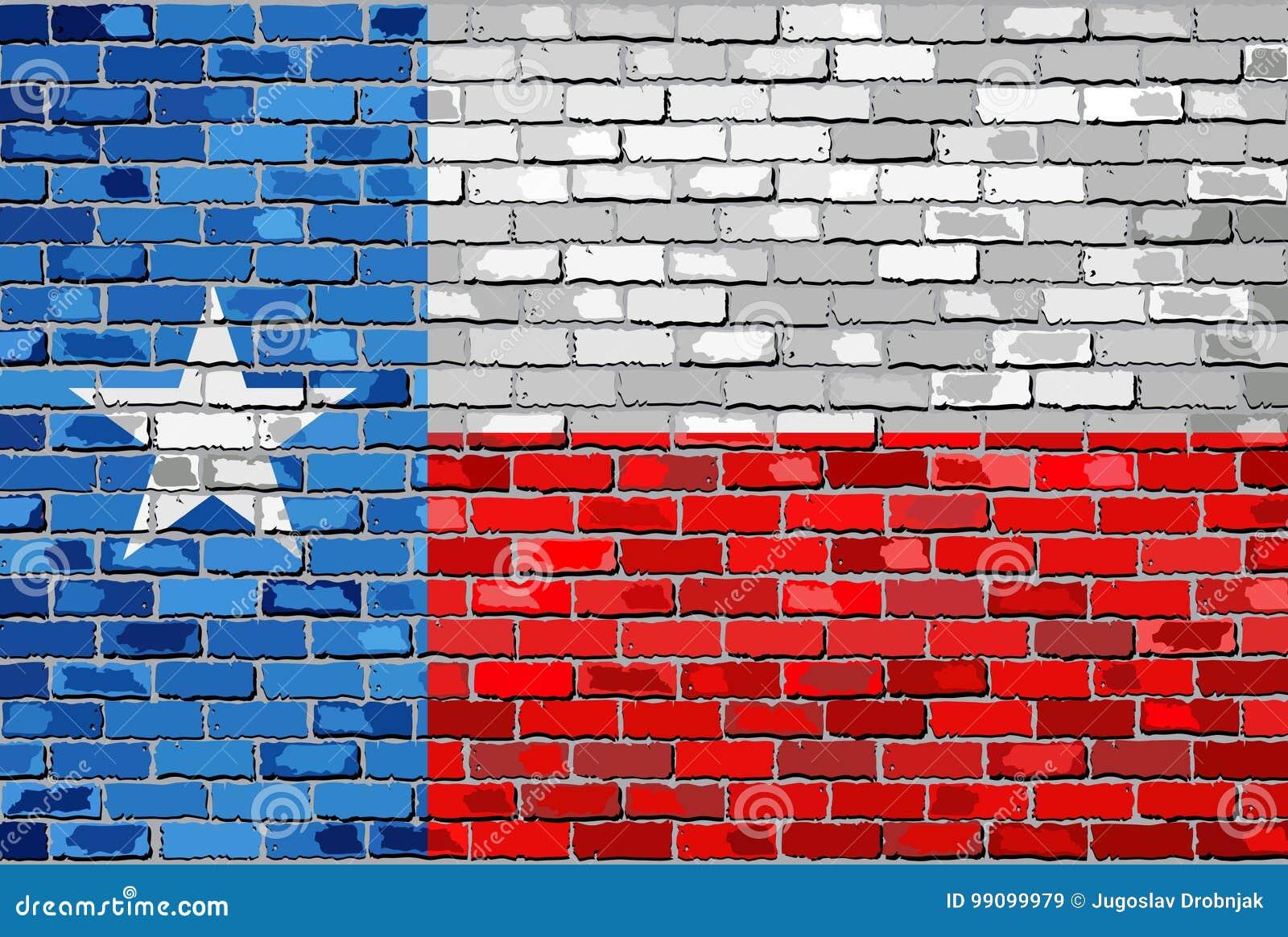 Vlag van Texas op een bakstenen muur