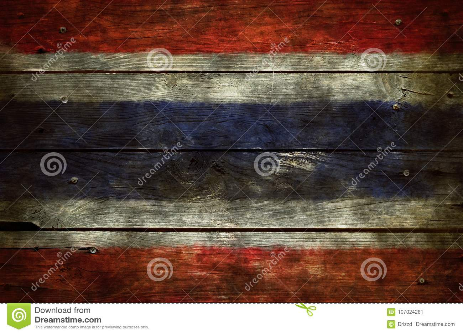 Vlag van Thailand op hout