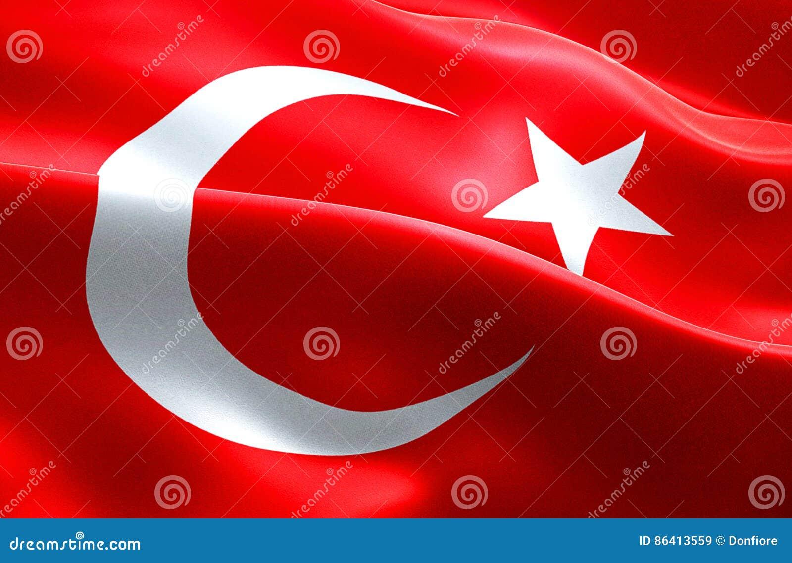 Vlag van van de de strook golvende textuur van Turkije de stoffenachtergrond, nationale symboolislam Arabische cultuur, de crisis
