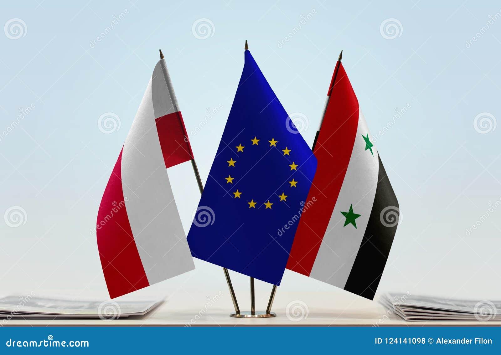 Vlaggen van de EU van Polen en Syrië