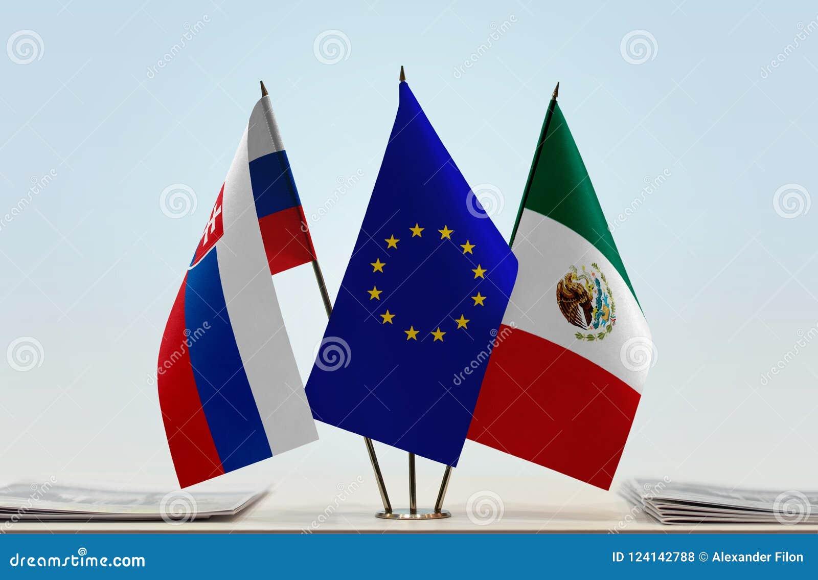 Vlaggen van de EU van Slowakije en Mexico