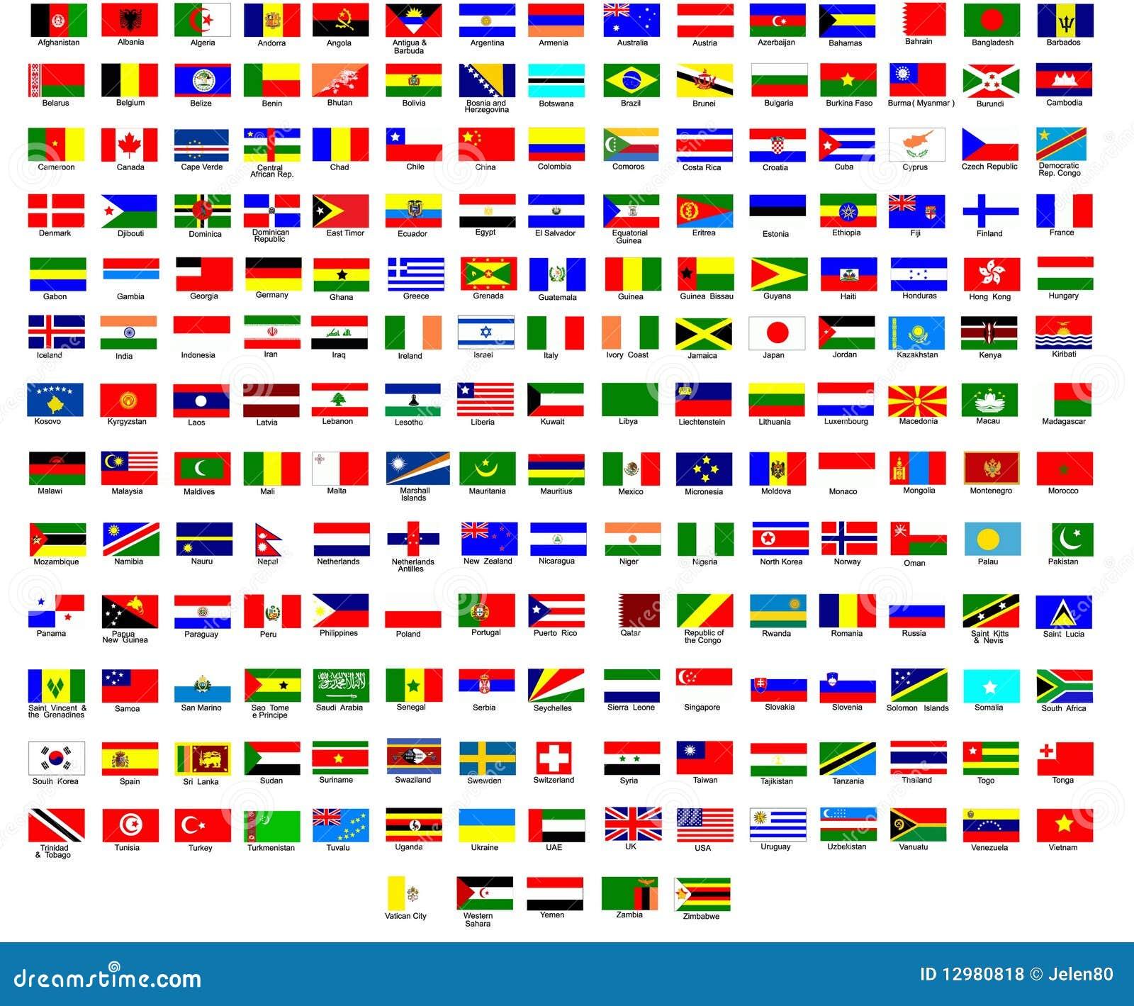 Vlaggen van de wereld vector illustratie afbeelding bestaande uit allen 12980818 - Vloerlamp van de wereld ...