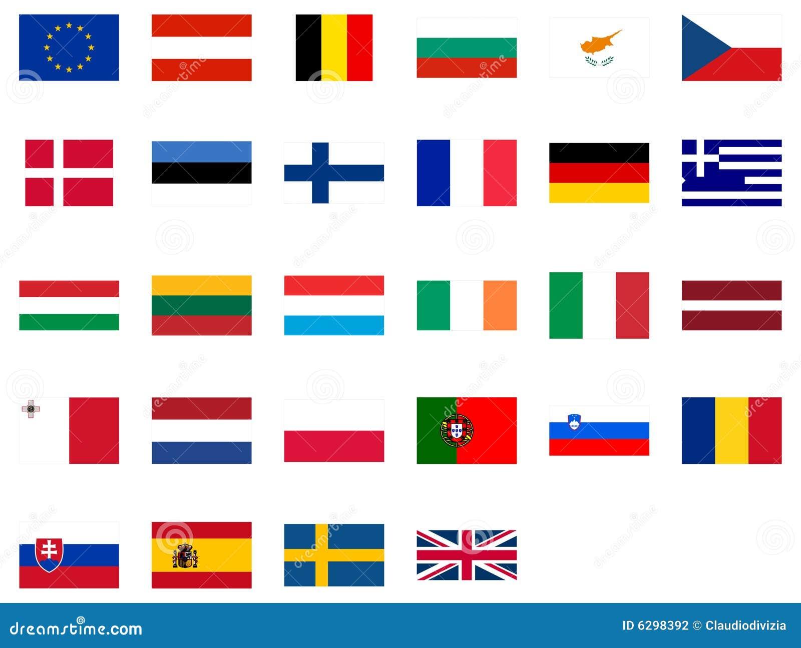 Wonderbaar Vlaggen van Europa vector illustratie. Illustratie bestaande uit FC-44