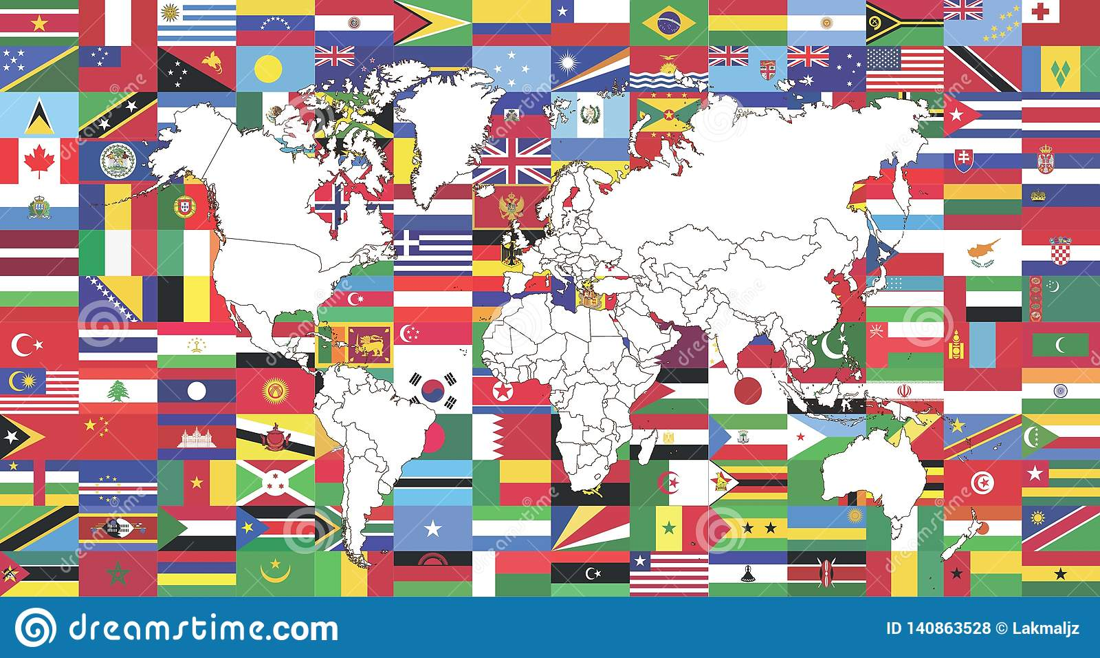 Vlaggen van Wereld en Kaart van wereld