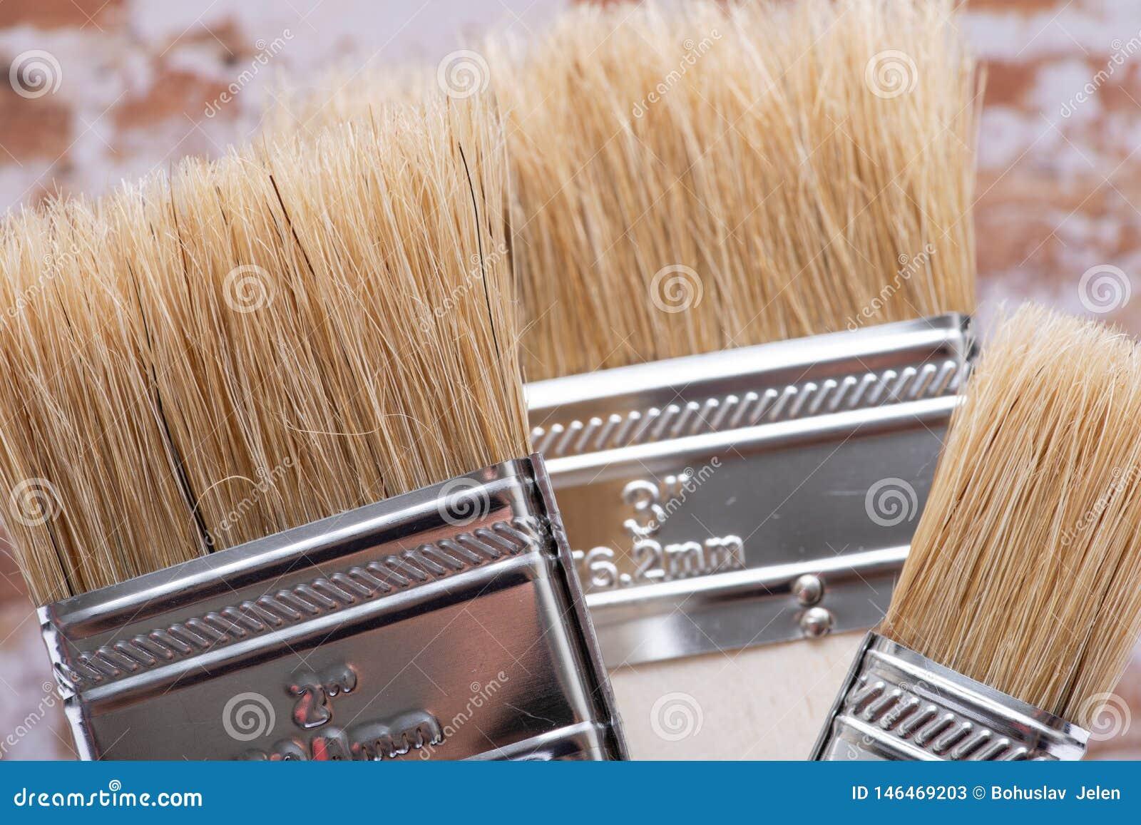 Vlak die Chip Painting Brush op bakstenen muur wordt ge?soleerd