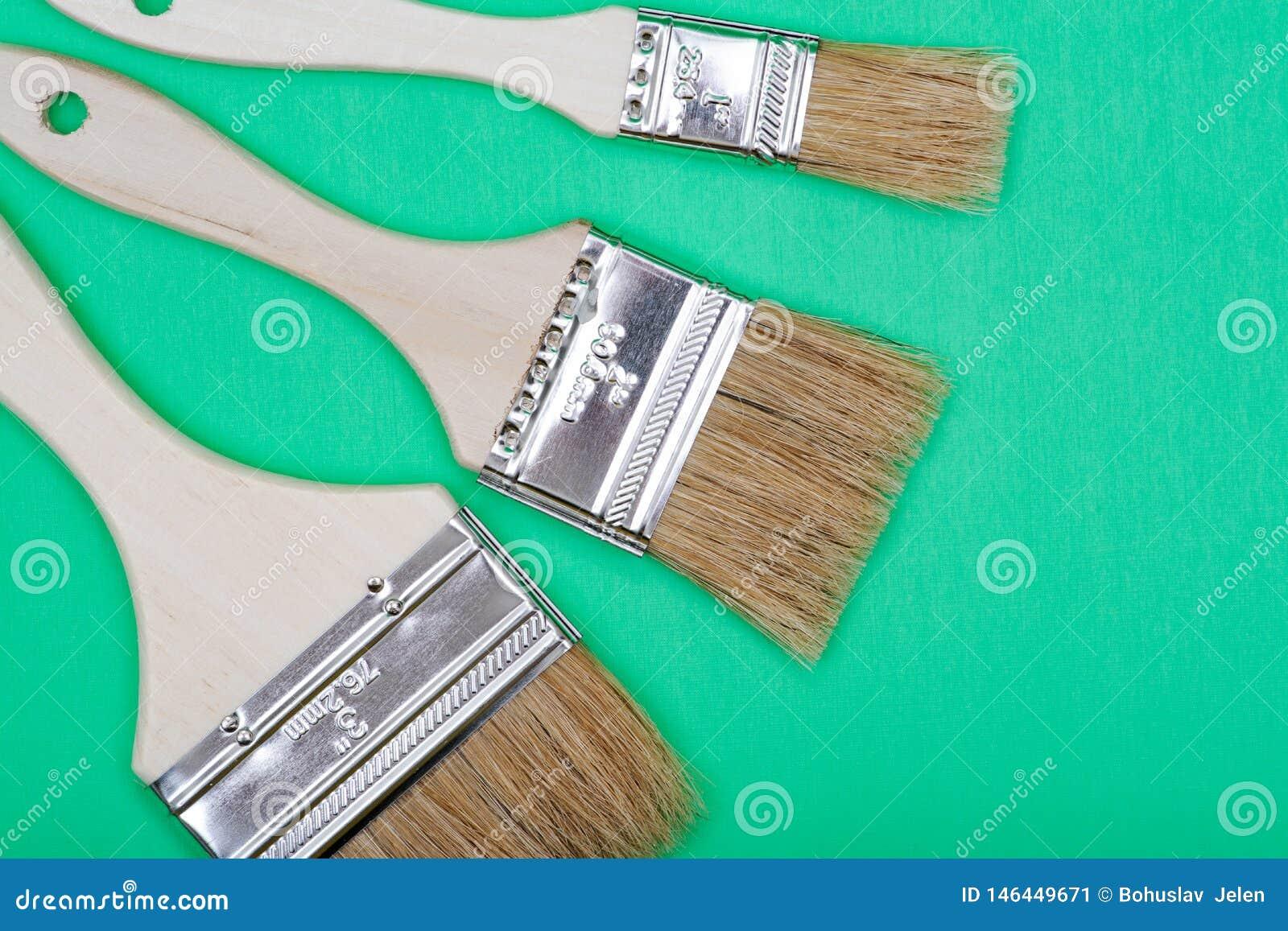 Vlak Chip Painting Brush dat op groen wordt geïsoleerd