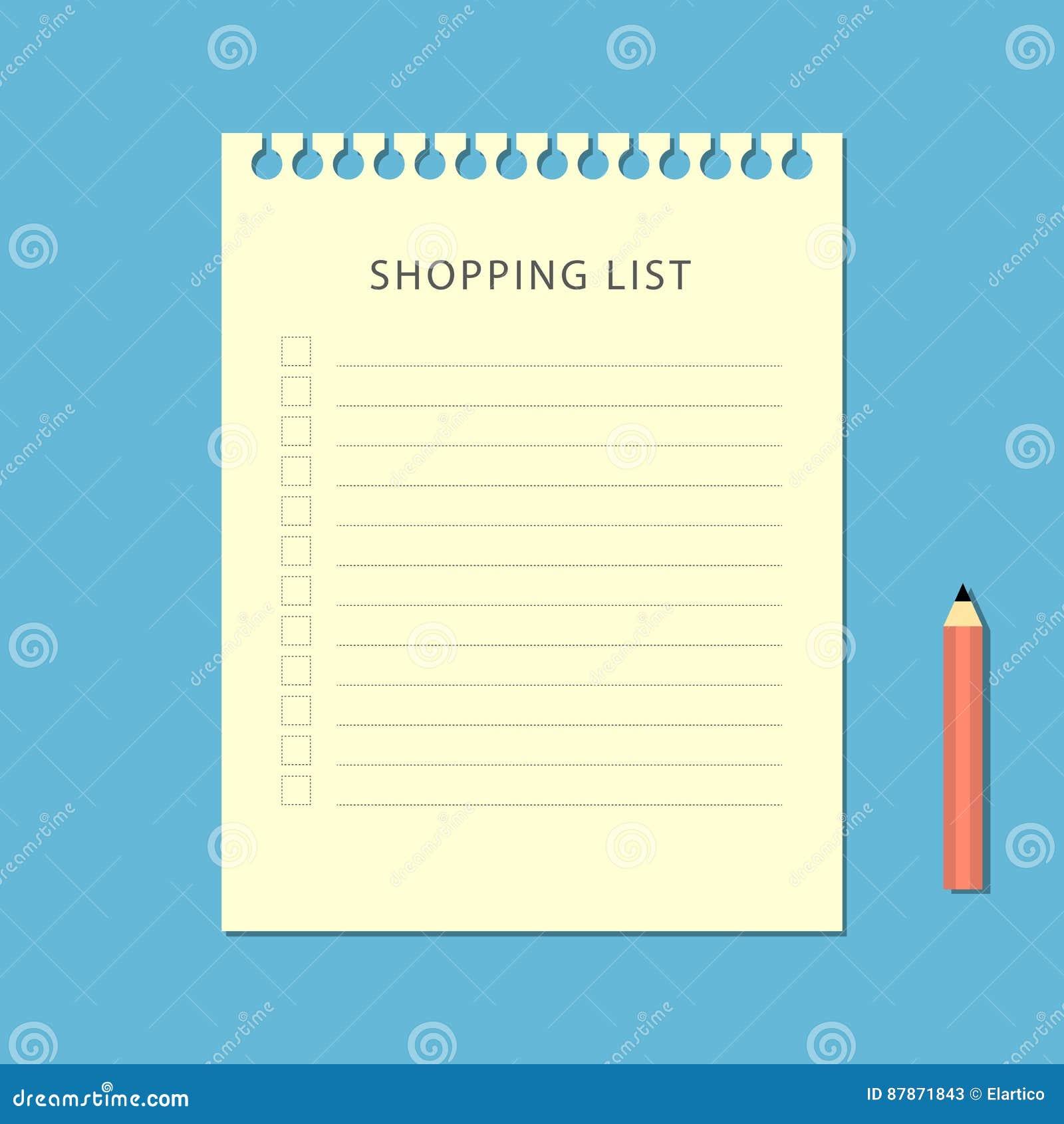 Vlak het winkelen lijst en potlood op blauwe achtergrond