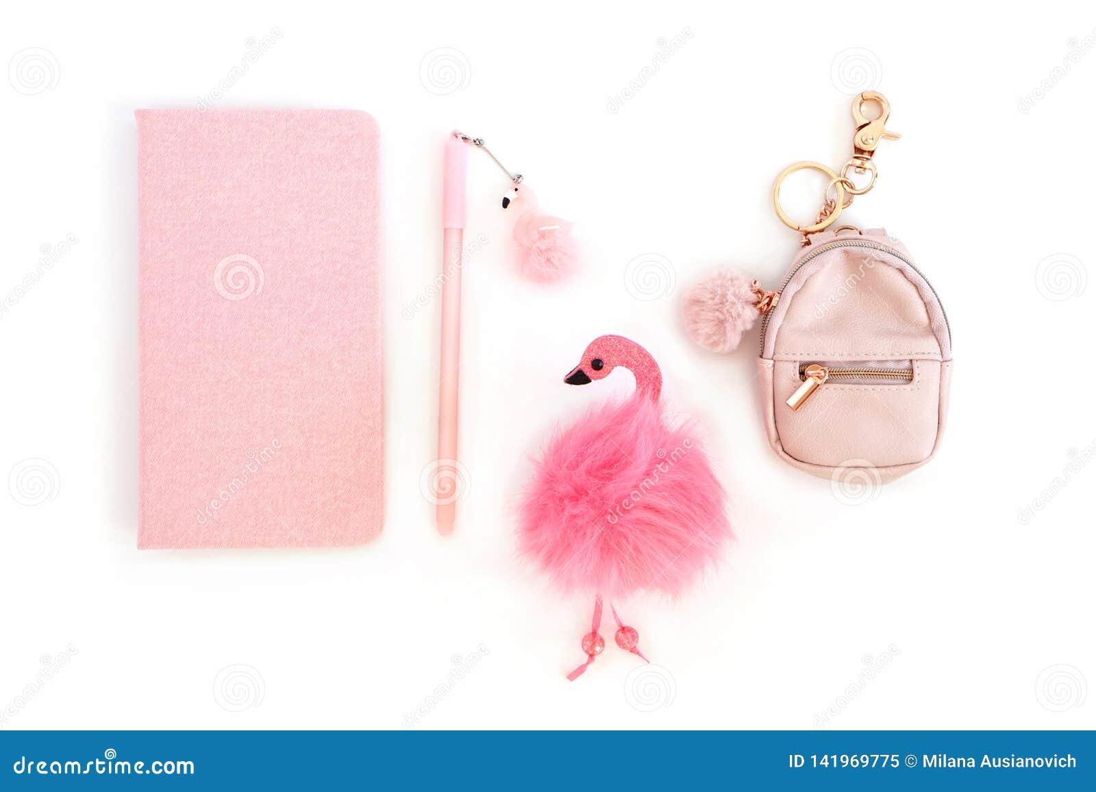 Vlak leg Blocnote, pen, keychain, flamingostuk speelgoed op witte achtergrond
