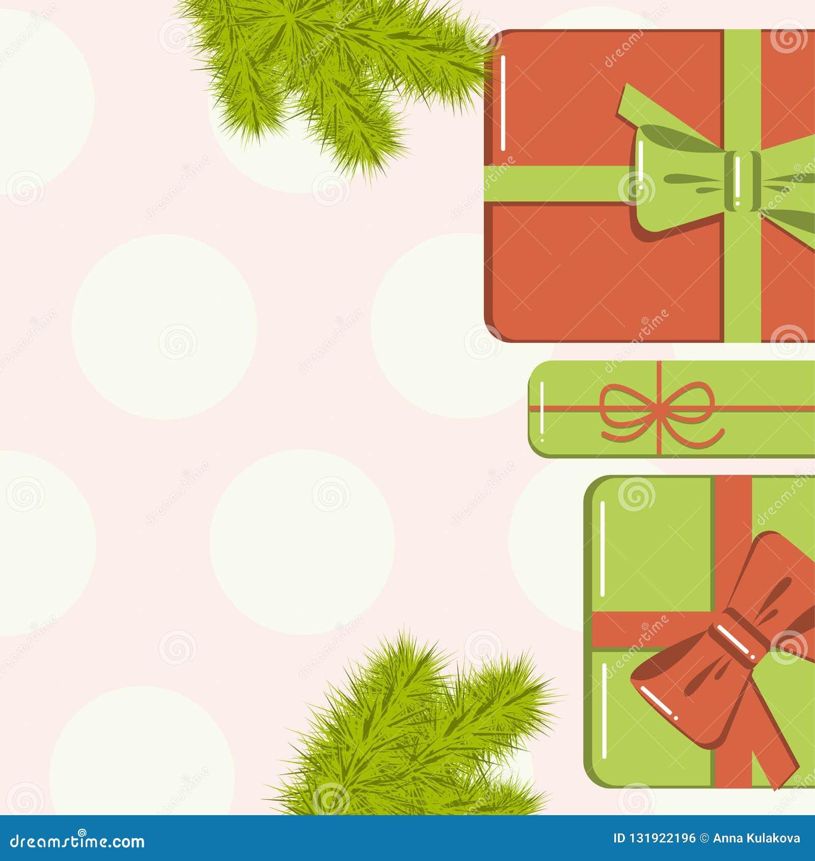 Vlak leg Kerstmismodel met spartakken, heldere giftdozen met boog en sterren en kleurrijke achtergrond Malplaatje voor nieuw jaar