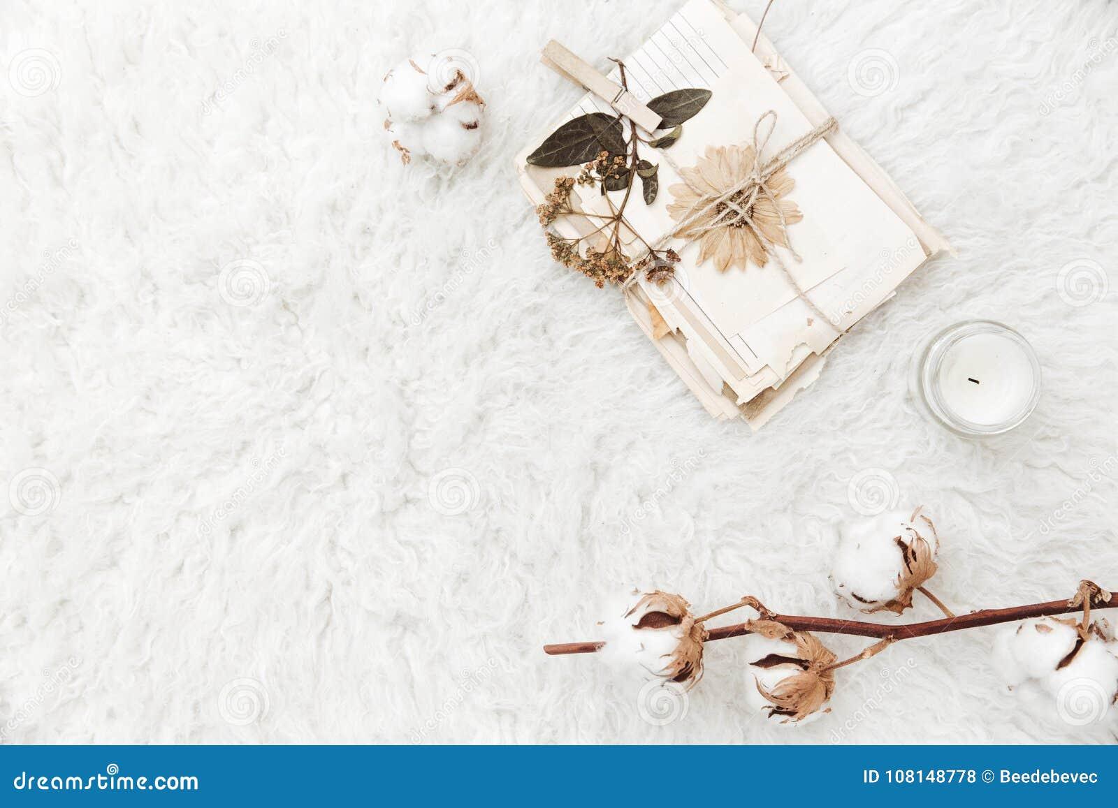 Vlak leg samenstelling met droge bloemen, katoen en oude brieven
