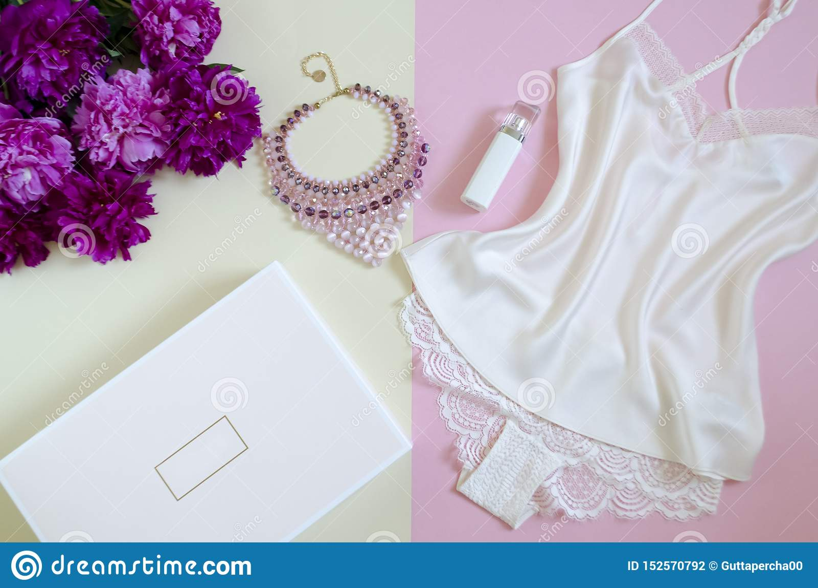 Vlak leg, tijdschriften, sociale netwerken hoogste mening van vrouwelijk wit kant Het concept van de schoonheid de maniertoebehor