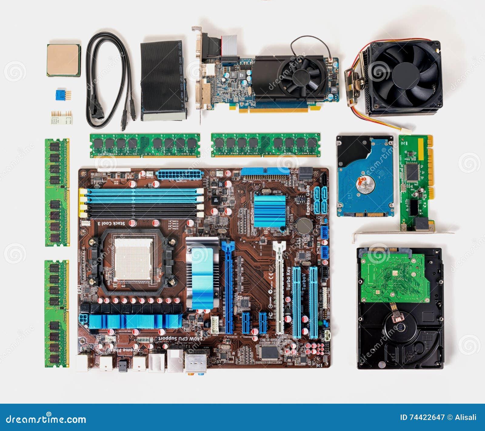 Vlak leg van gedemonteerde PC-computer, laptop, concept reparatie