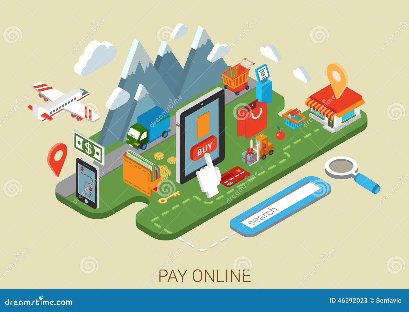 Vlak online het winkelen Internet proces 3d isometrisch concept