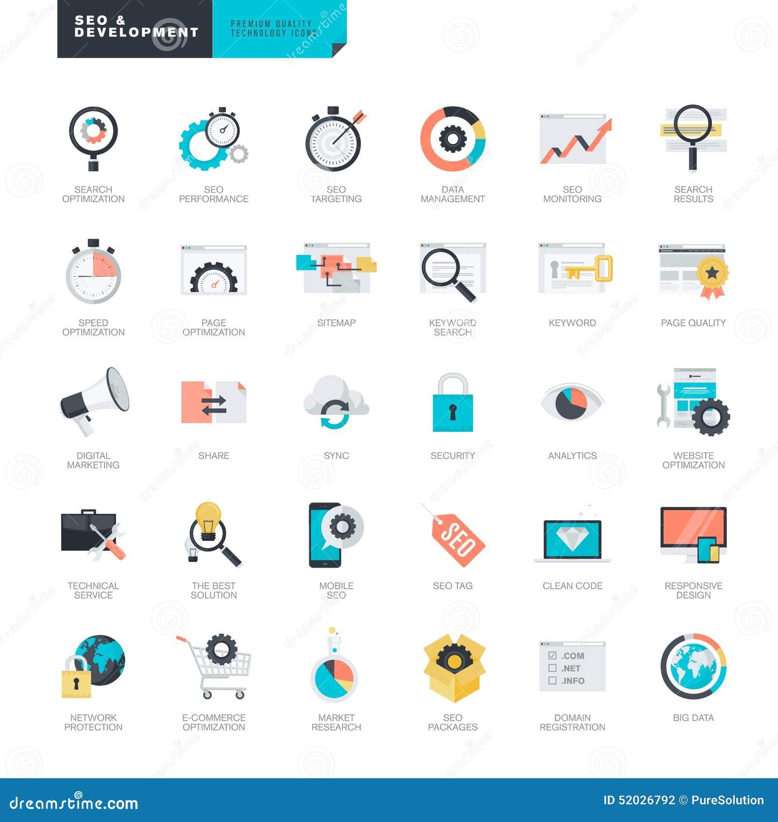 Vlak ontwerp SEO en de pictogrammen van de websiteontwikkeling voor grafische en Webontwerpers