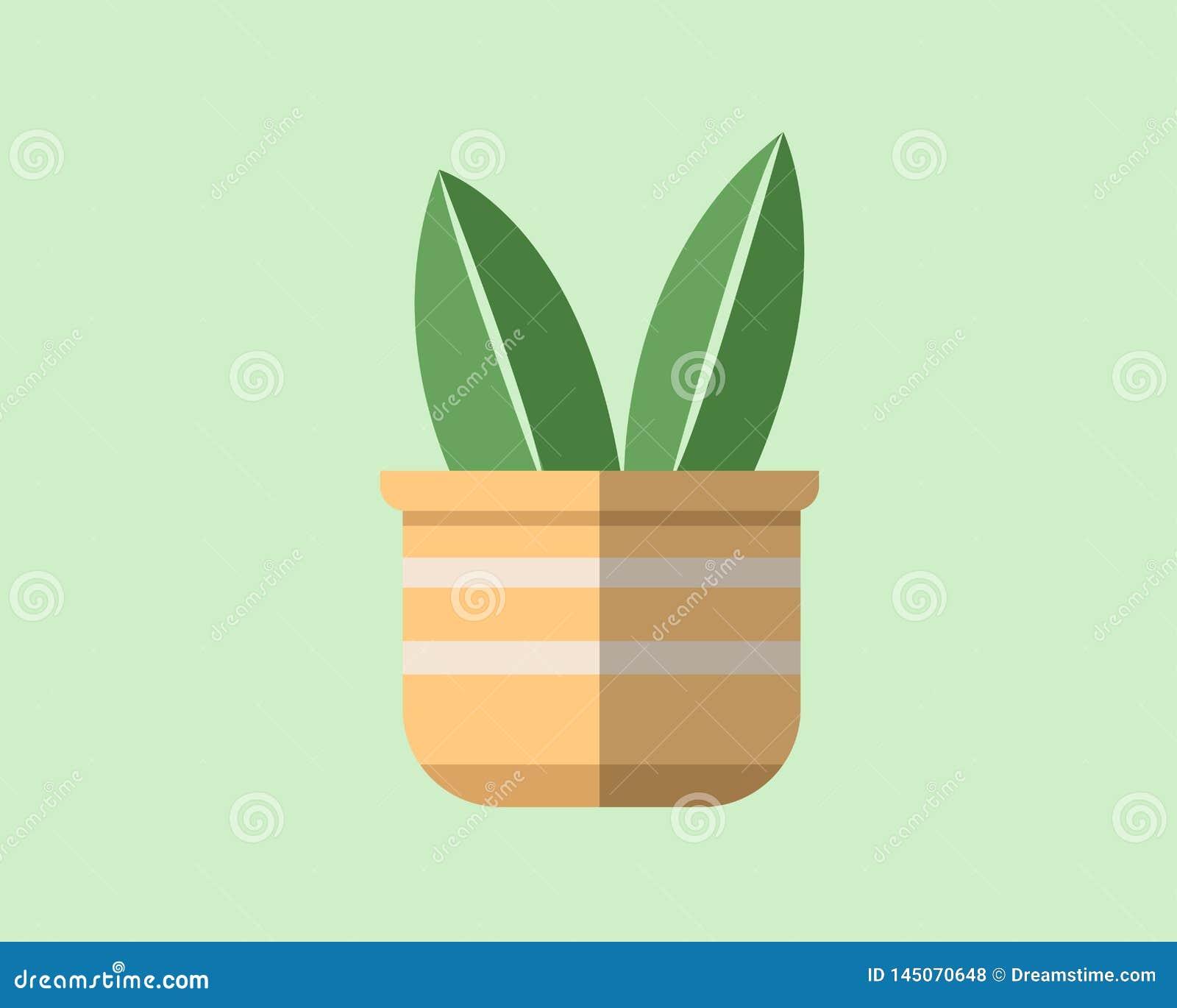 Vlak ontwerp van een installatie in een pot