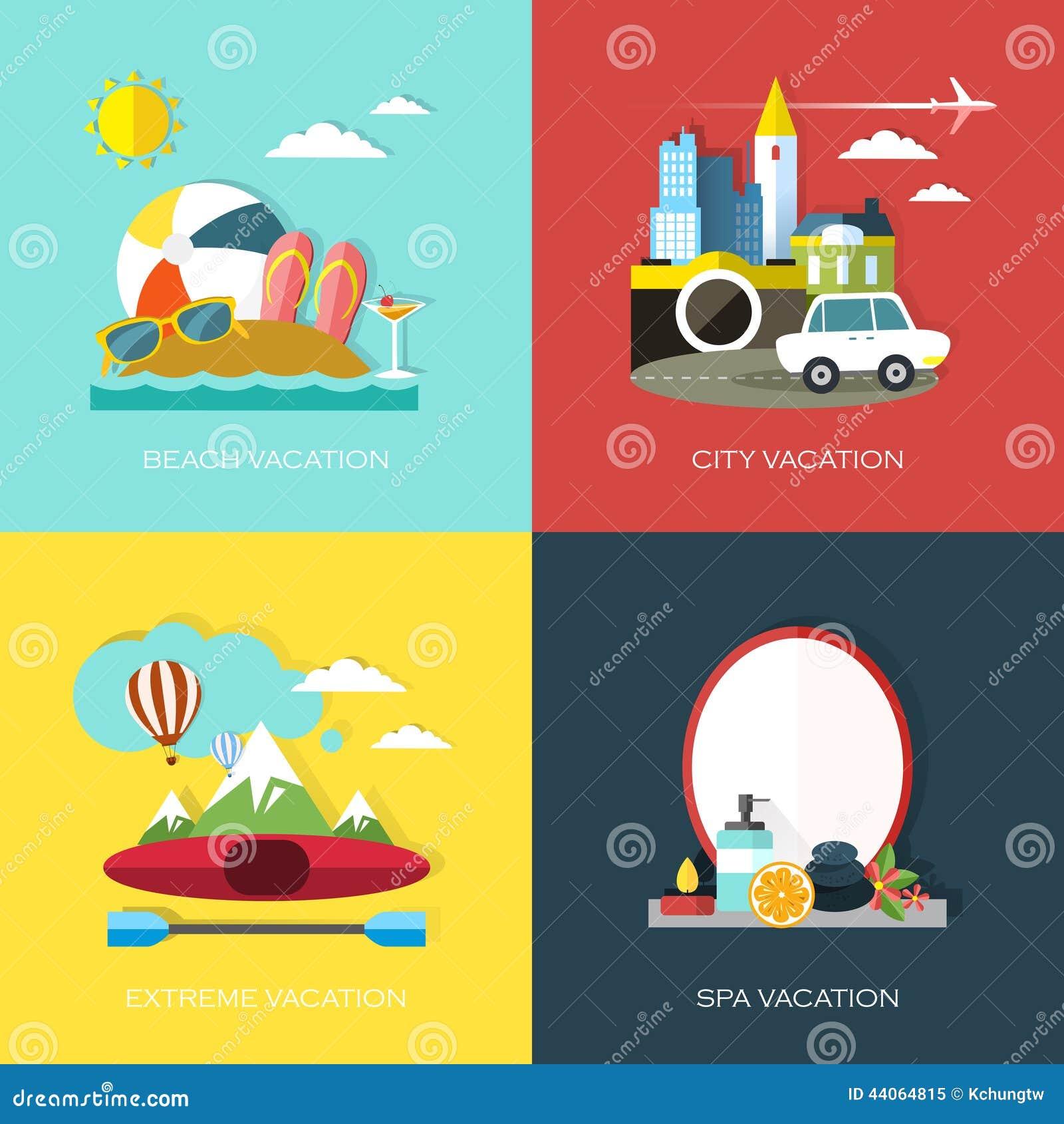Schoudertas Voor Vakantie : Vlak ontwerp voor verschillende soorten vakantie vector