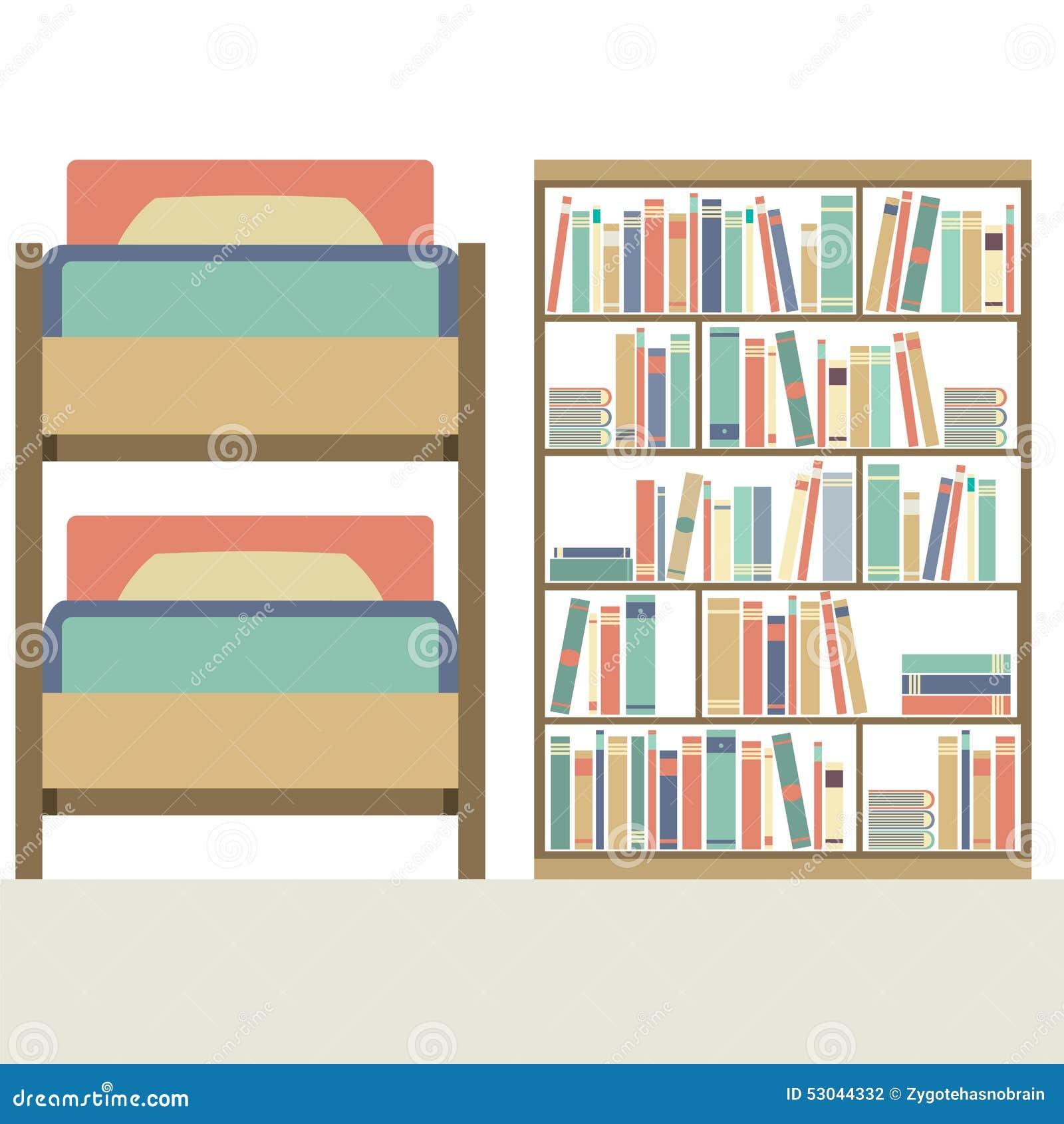 vlak ontwerpstapelbed met grote boekenkast