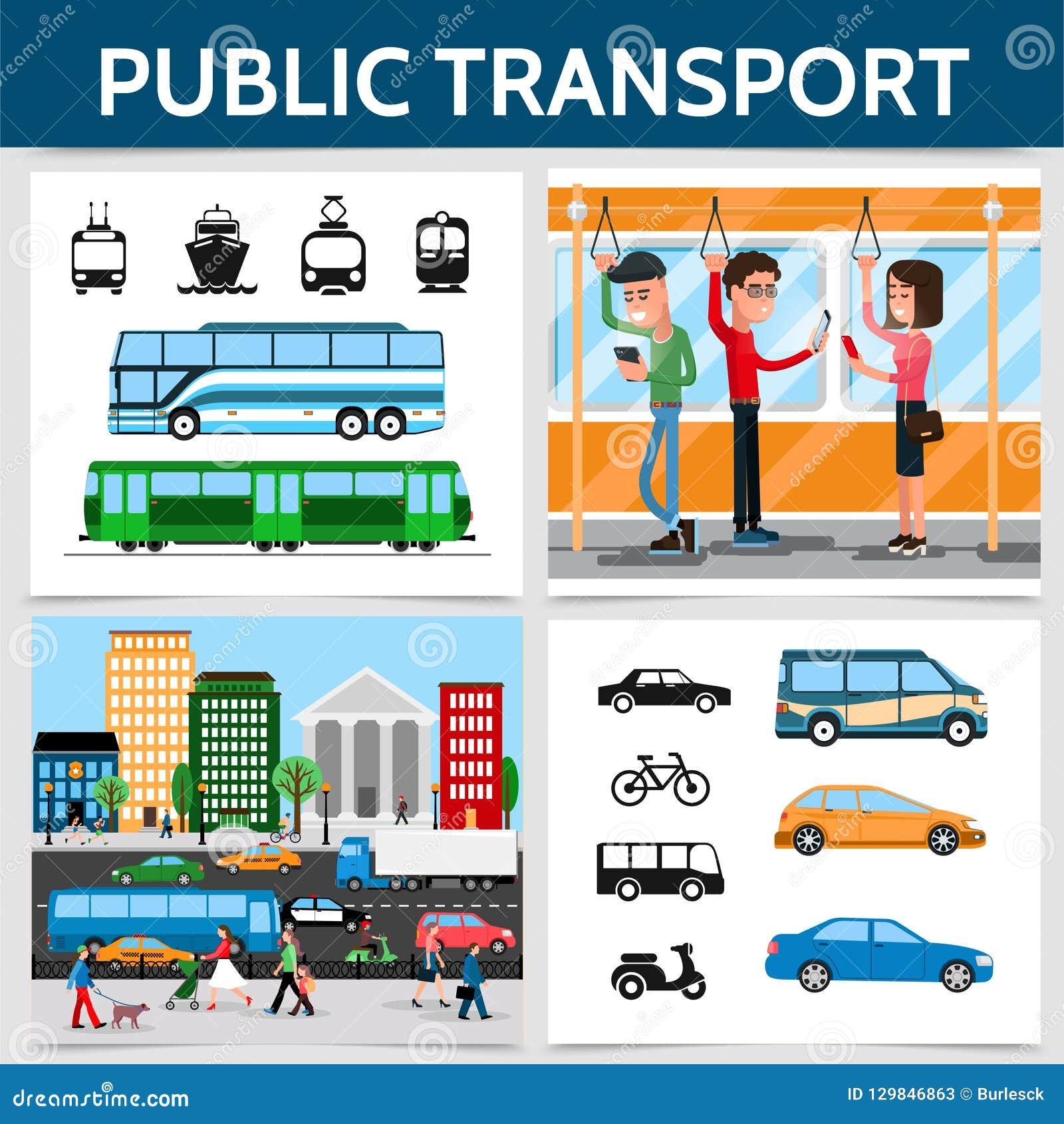 Vlak Openbaar Vervoer Vierkant Concept