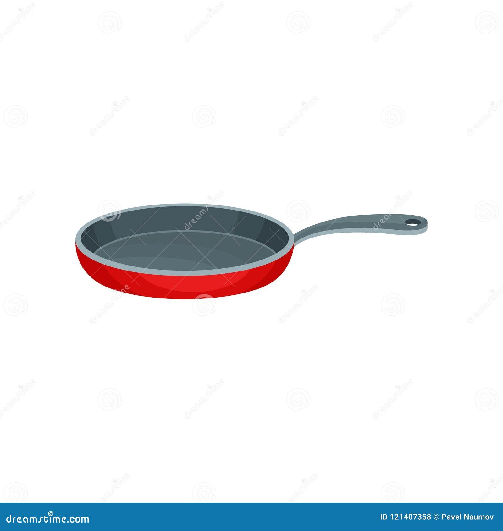 Vlak vectorpictogram van rode metaalpan met grijs handvat Roestvrije die container voor het koken van voedsel wordt gebruikt Keuk