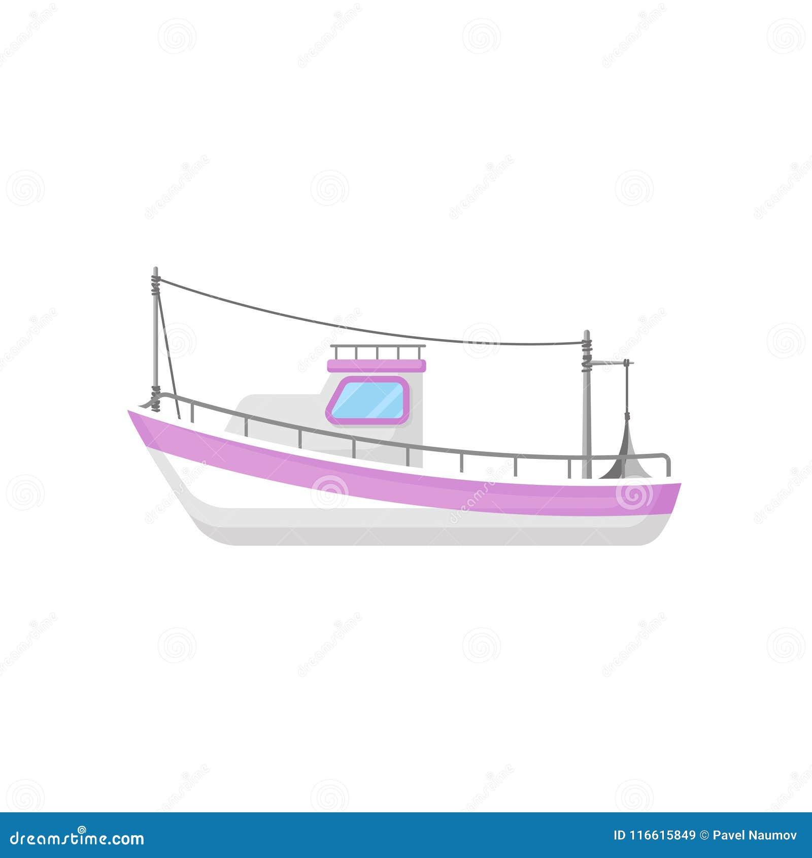 Vlak vectorpictogram van vissersboot met slepend toestel Industrieel marien schip Oceaan of overzees thema