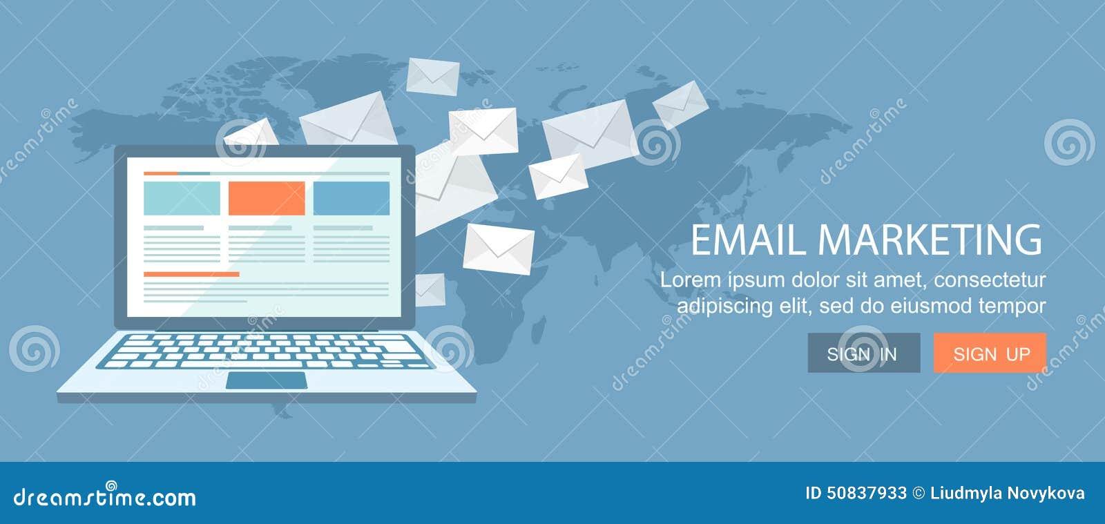 Vlakke bannerreeks Internet-handel en e-mail marketing illustrati