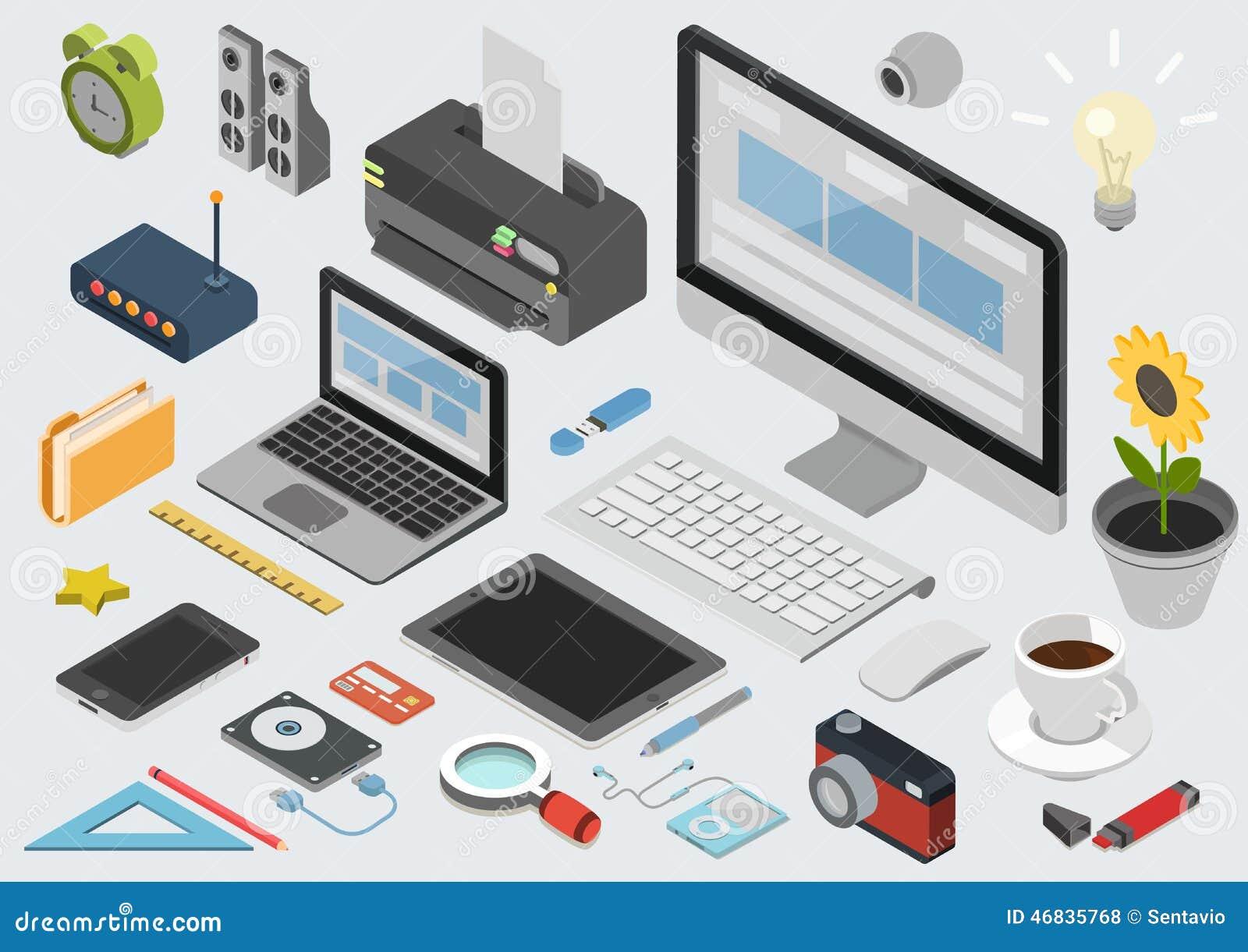Vlakke 3d isometrische infographic het pictogramreeks van de technologiewerkruimte