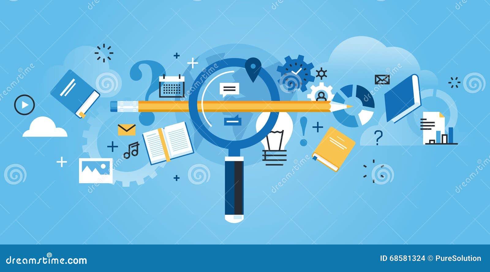 Vlakke de websitebanner van het lijnontwerp van vondst het juiste onderwijs
