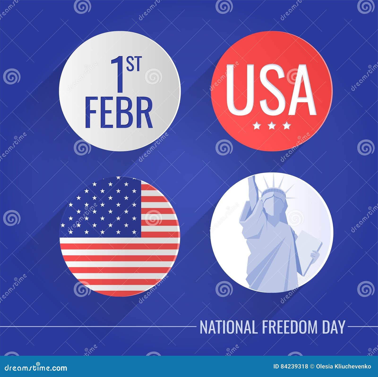 Vlakke die pictogrammen voor Nationale vrijheid worden geplaatst dag de V.S.