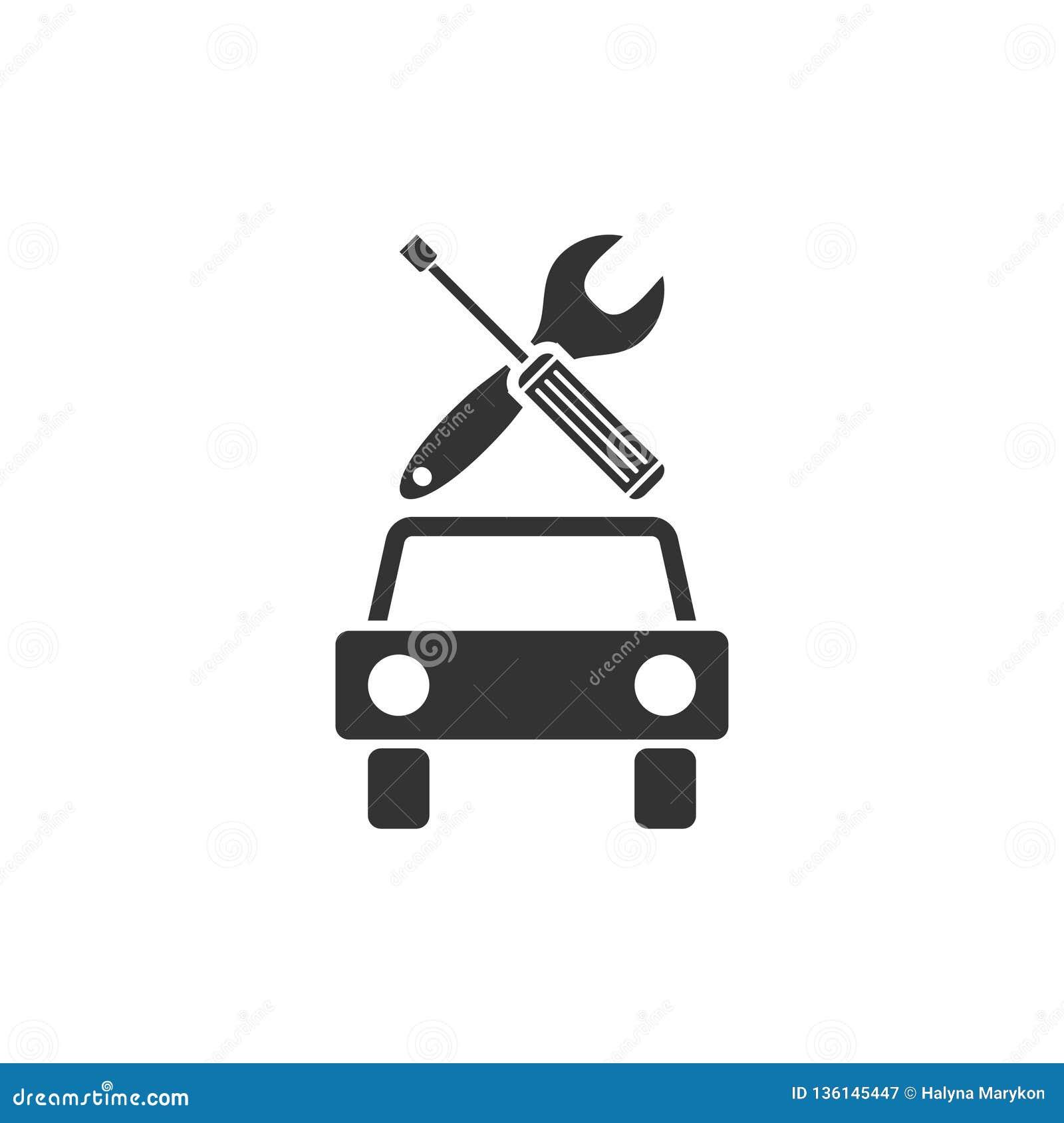 Vlakke het pictogram van de autodienst