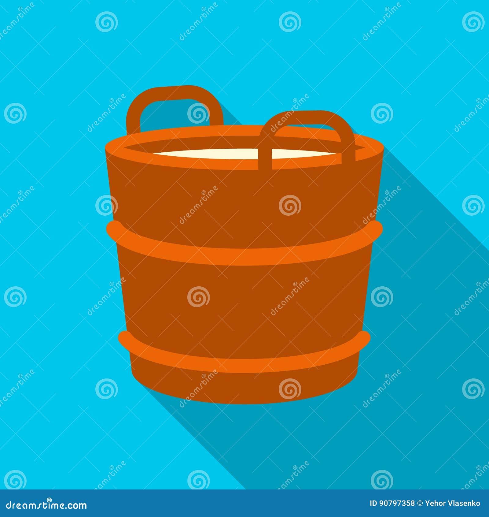 Vlakke het pictogram van de melkemmer Enige bio, eco, biologisch productpictogram van de grote vlakke melk