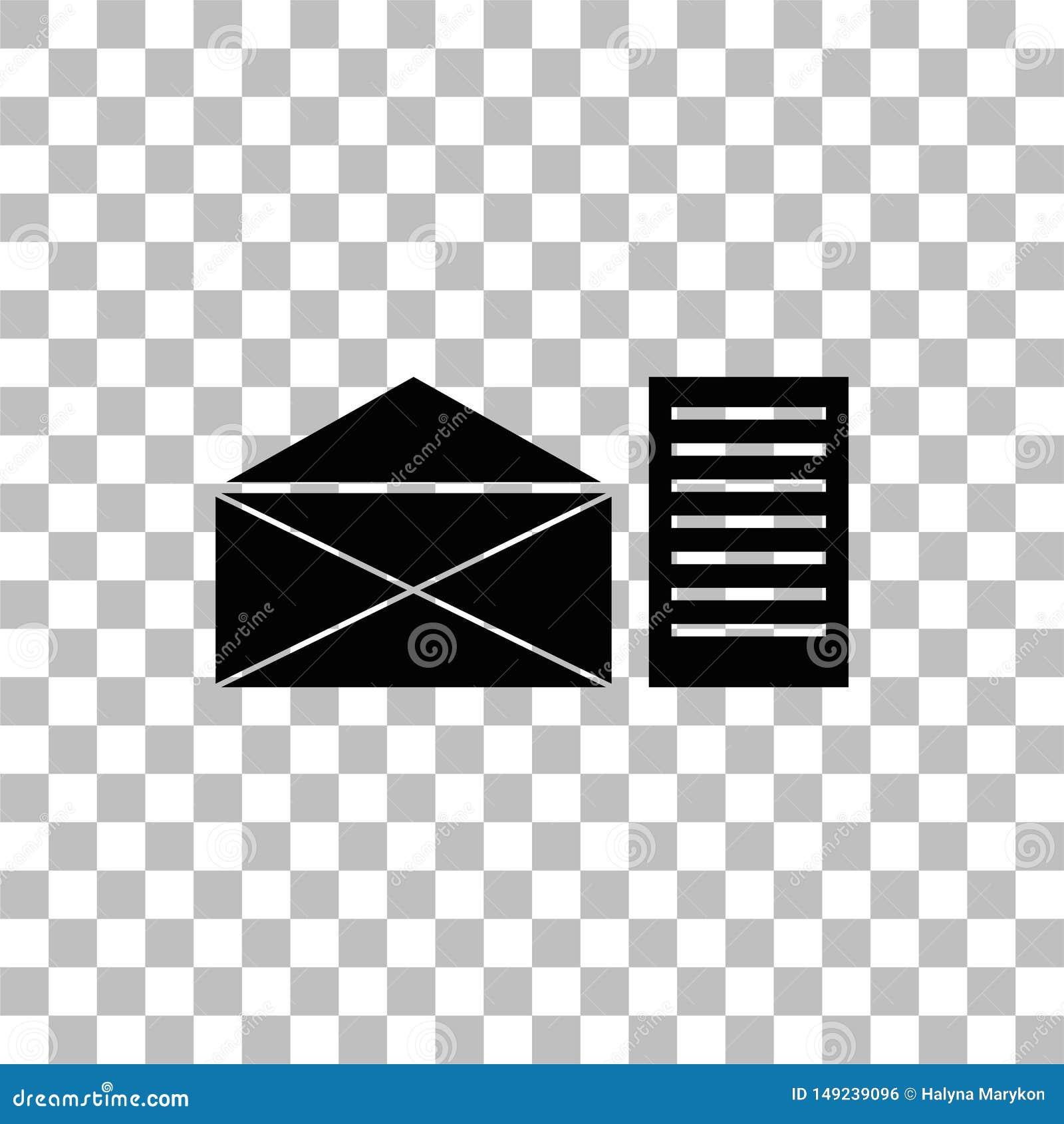 Vlakke het pictogram van de postbrief
