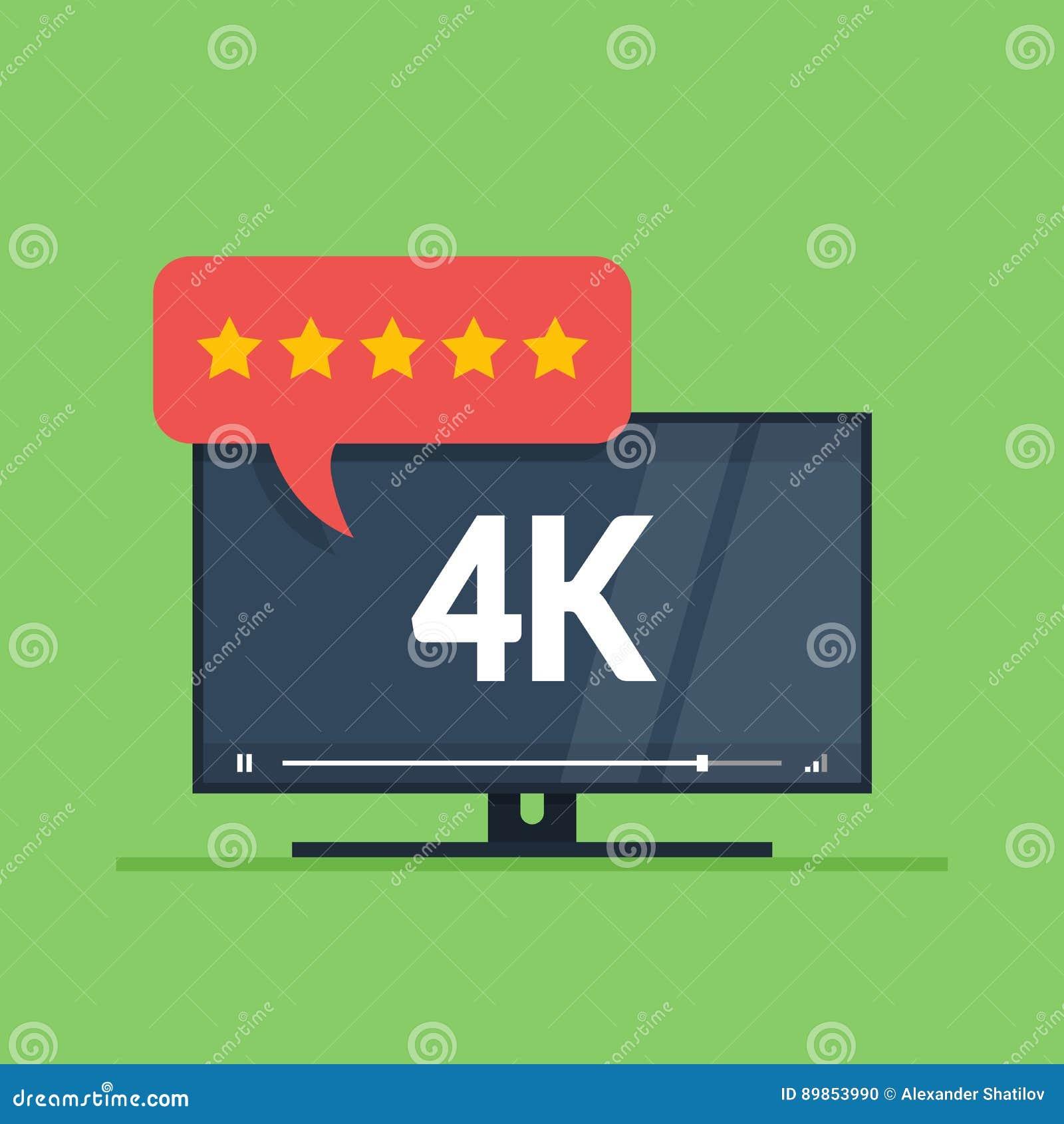 Vlakke het schermtv met 4k ultra de videotechnologie van HD Gebruikersoverzichten in classificatievorm met sterren op toespraakbe