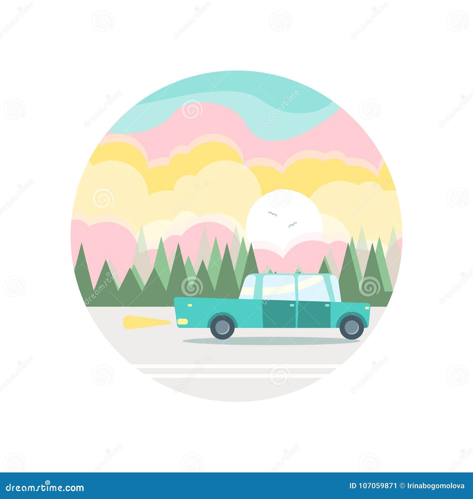 Vlakke illustratie van een blauwe auto in bosrijk en hemels landschap