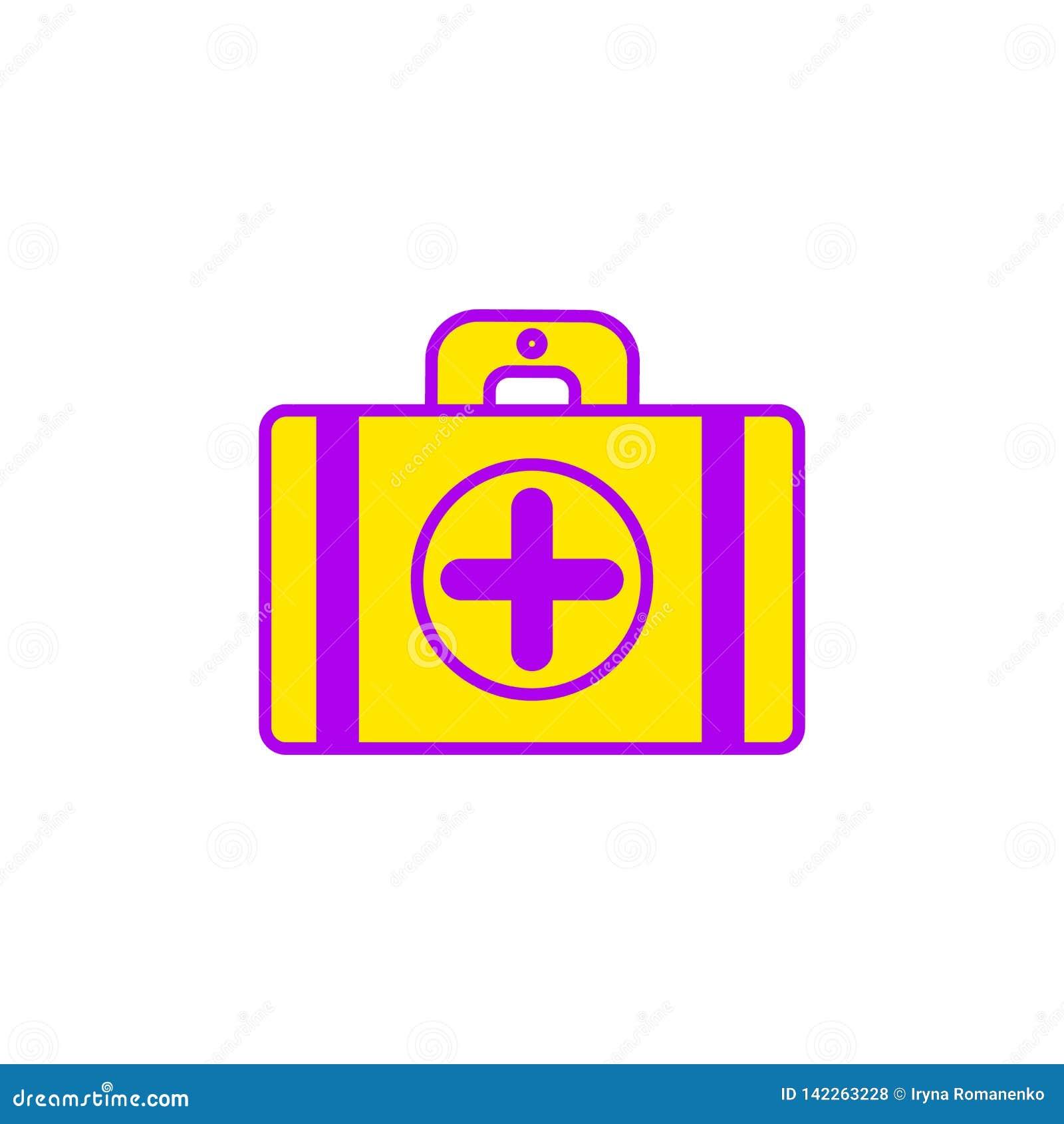 Vlakke illustratie van het pictogram van de ziekenwagenkoffer