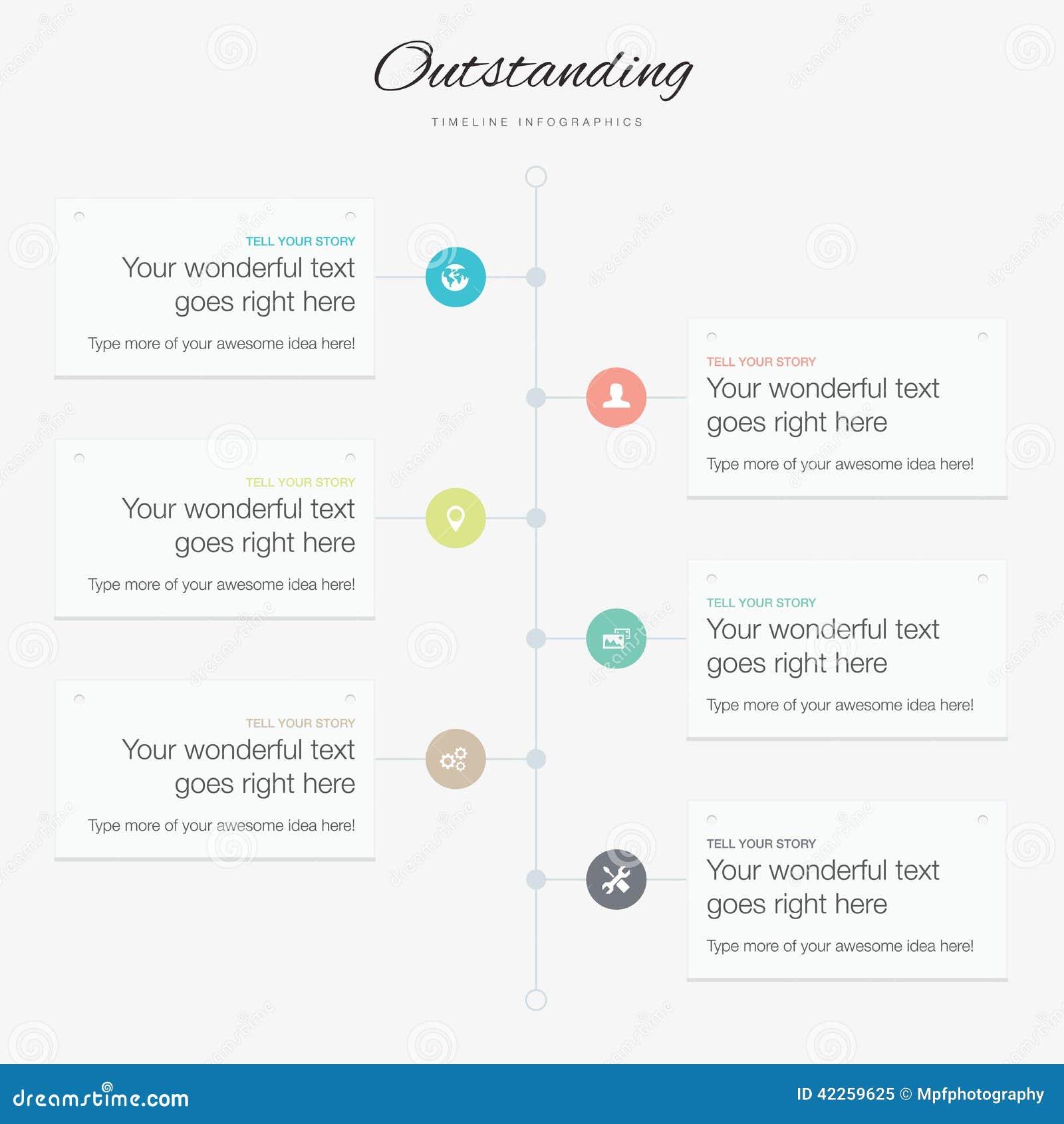 Vlakke inspirational kleuren van het chronologie de infographic vectormalplaatje