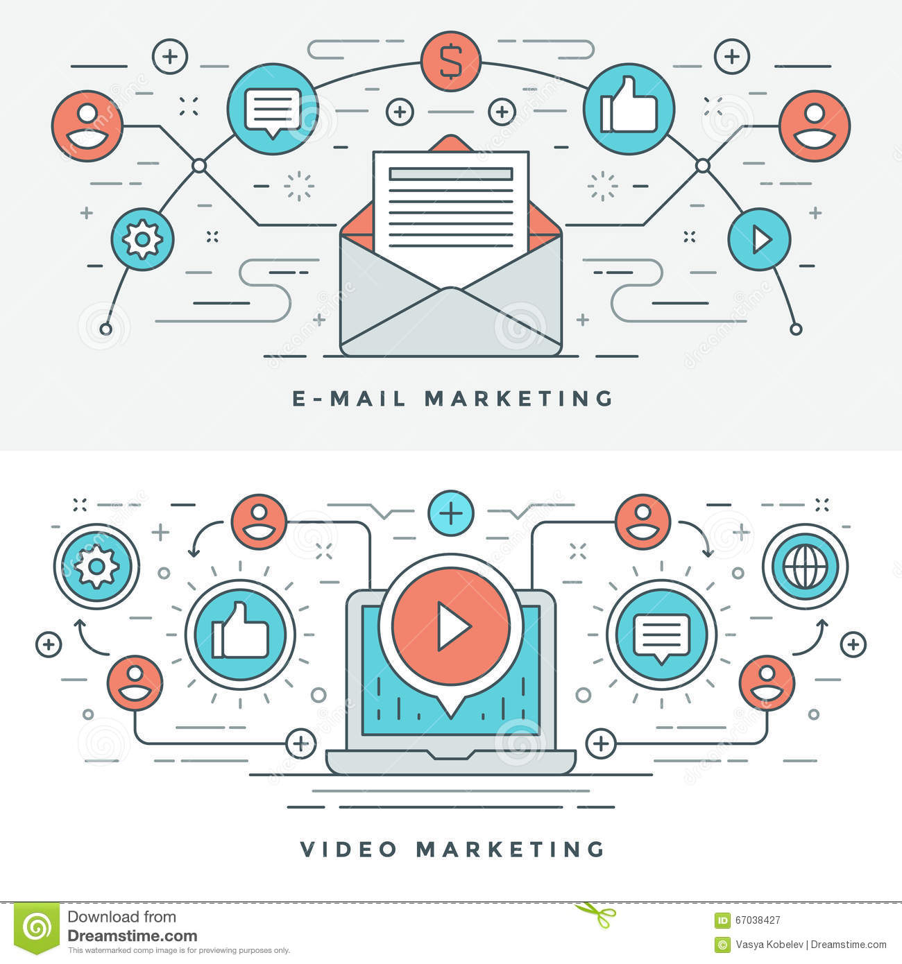 Vlakke lijn E-mail en Video Marketing Concepten Vectorillustratie Moderne dunne lineaire slag vectorpictogrammen