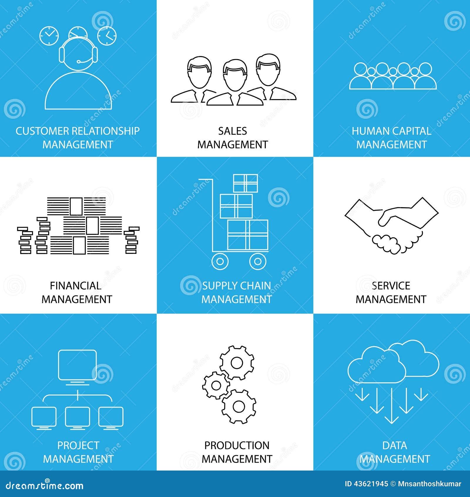 Vlakke lijnpictogrammen van beheer van financiën, verkoop, de dienst - conce