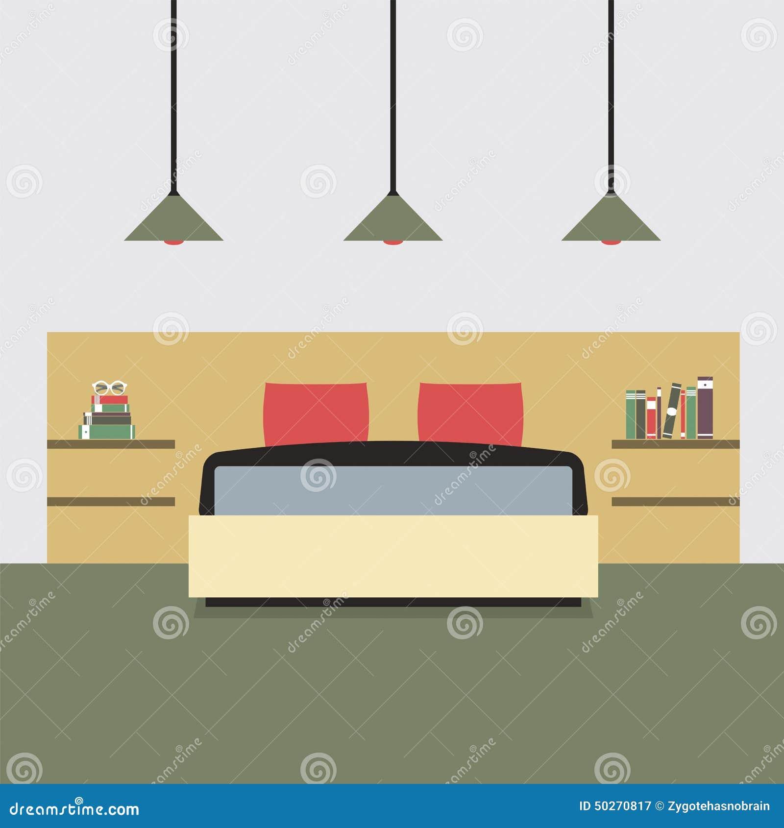 Vlakke ontwerp dubbele slaapkamer vector illustratie   afbeelding ...