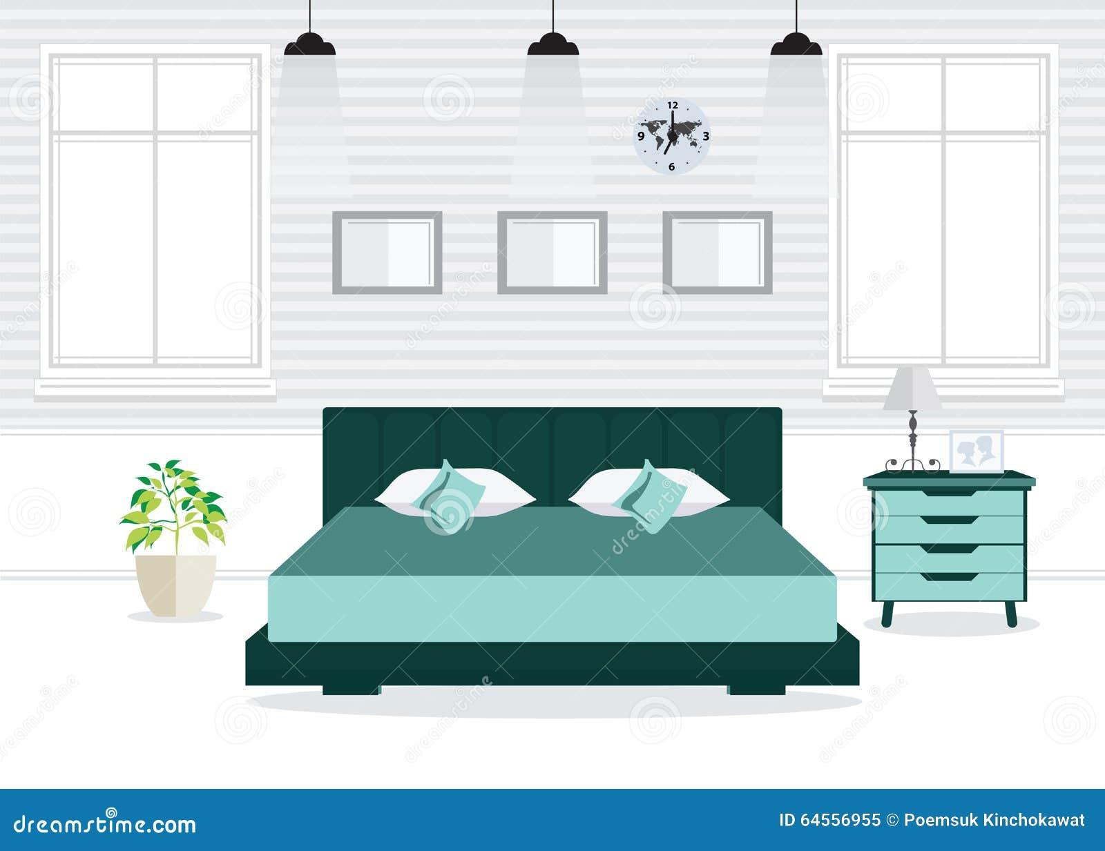 Vlakke ontwerp dubbele slaapkamer met meubilair vector illustratie afbeelding 64556955 - Slaapkamer hout ...