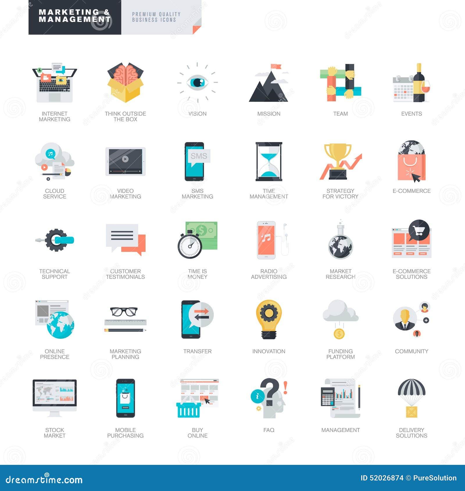 Vlakke ontwerp marketing en beheer pictogrammen voor grafische en Webontwerpers